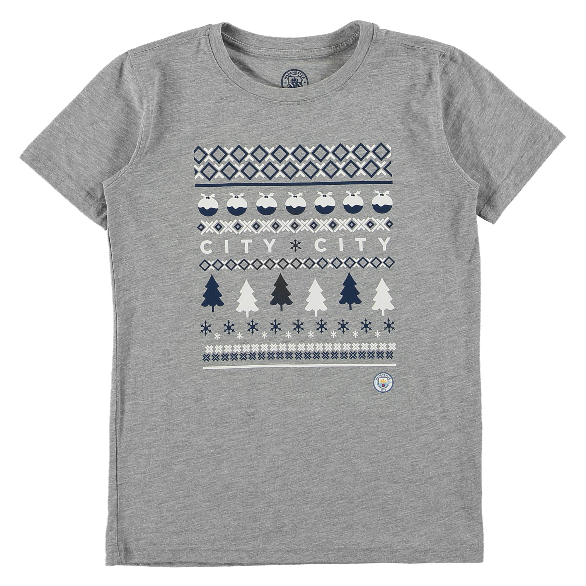 Manchester City Fairisle Christmas T Shirt - Grey Marl