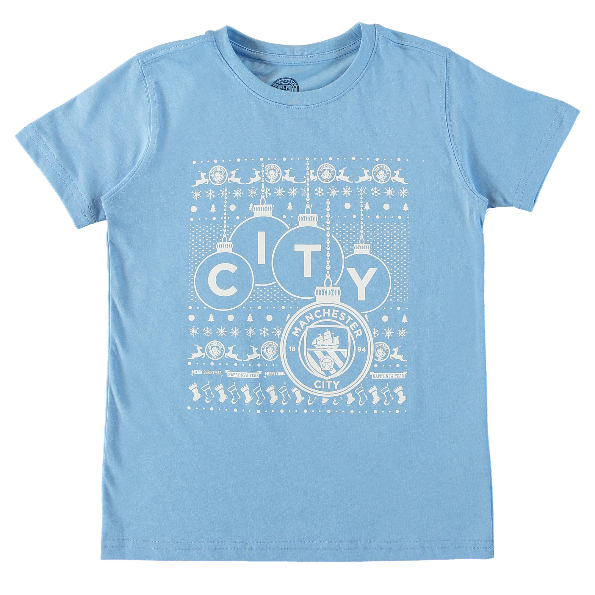 Manchester City Bauble Christmas T Shirt - Kids - Sky