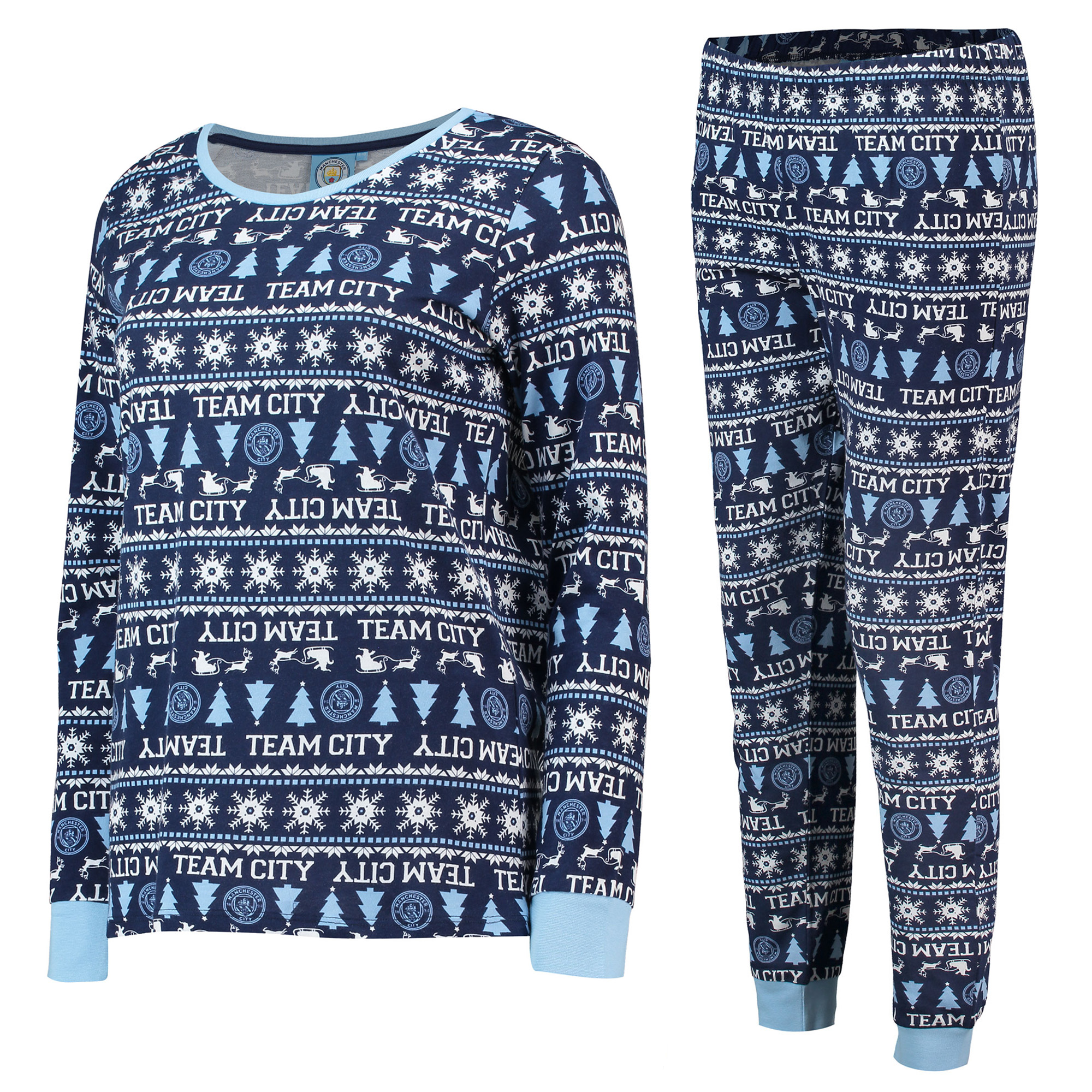 Manchester City Fairisle Christmas PJs - Navy/ Sky/ White - Womens
