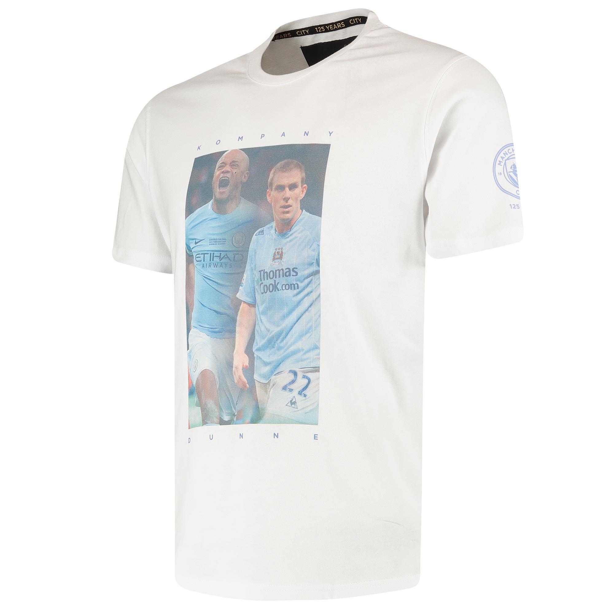 Manchester City Manchester City 125 Years City Heroes Dunne / Kompany T Shirt - White - Unisex