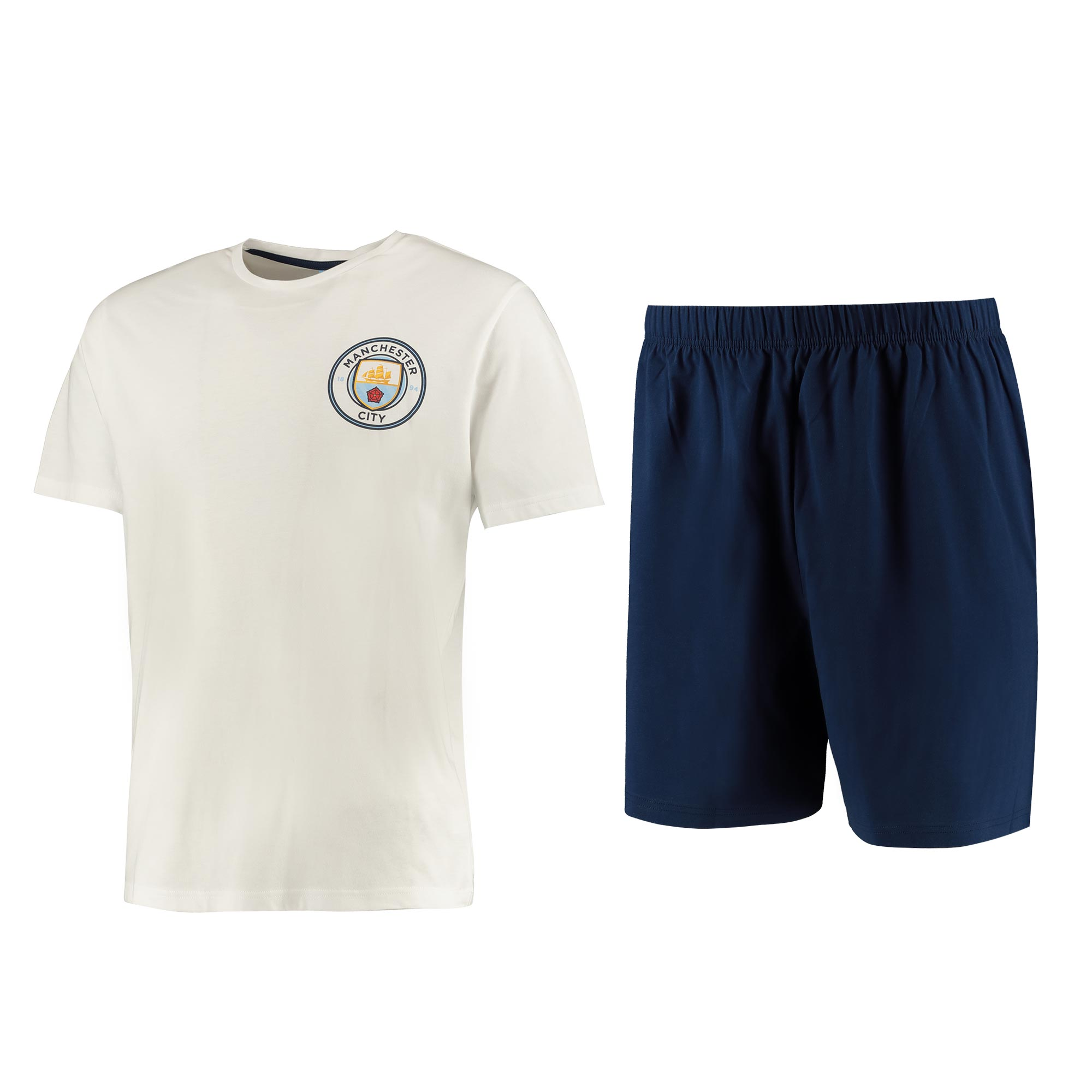 Manchester City T-Shirt and Shorts Pyjama Set - White/Navy - Mens