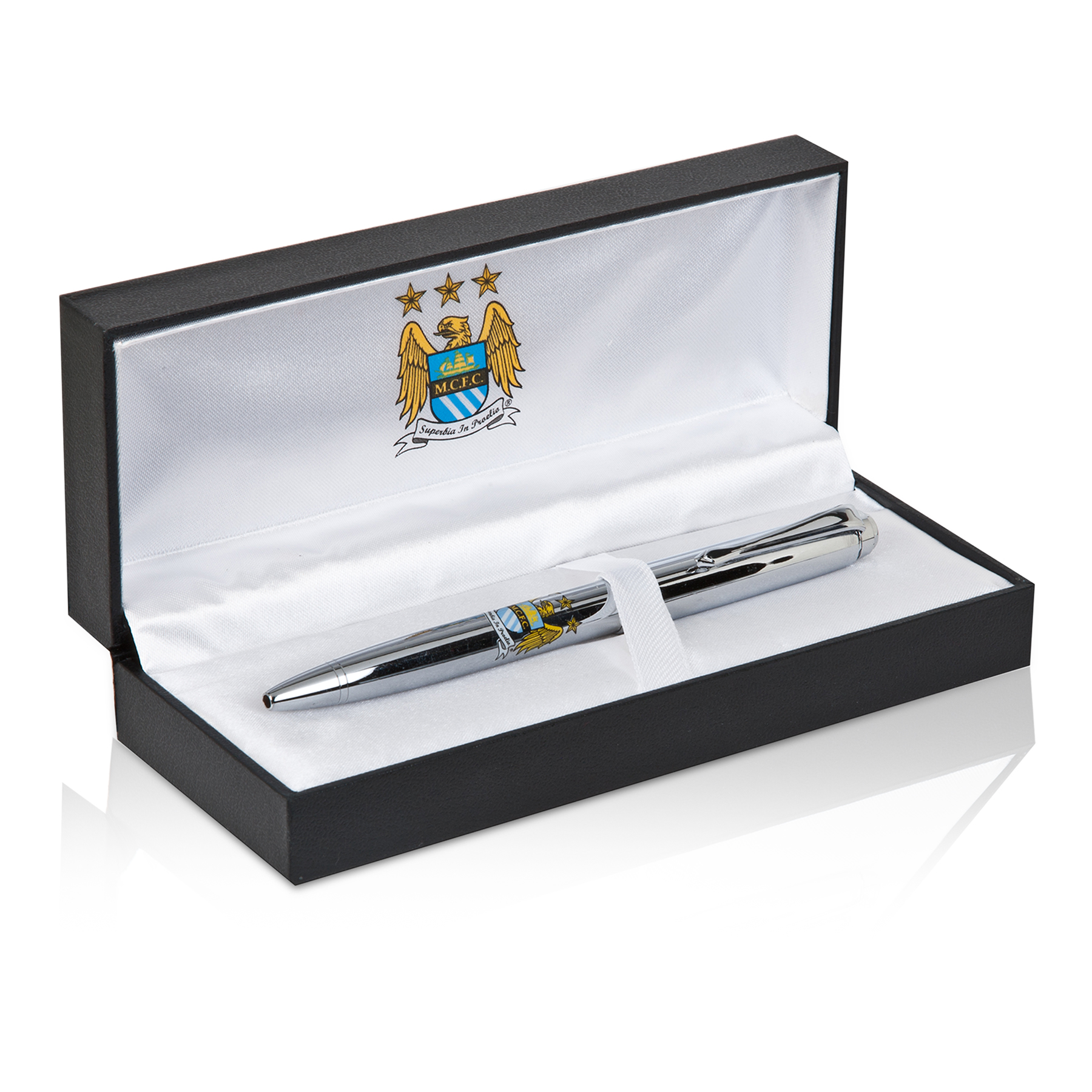 Manchester City Crested Chrome Pen - Silver