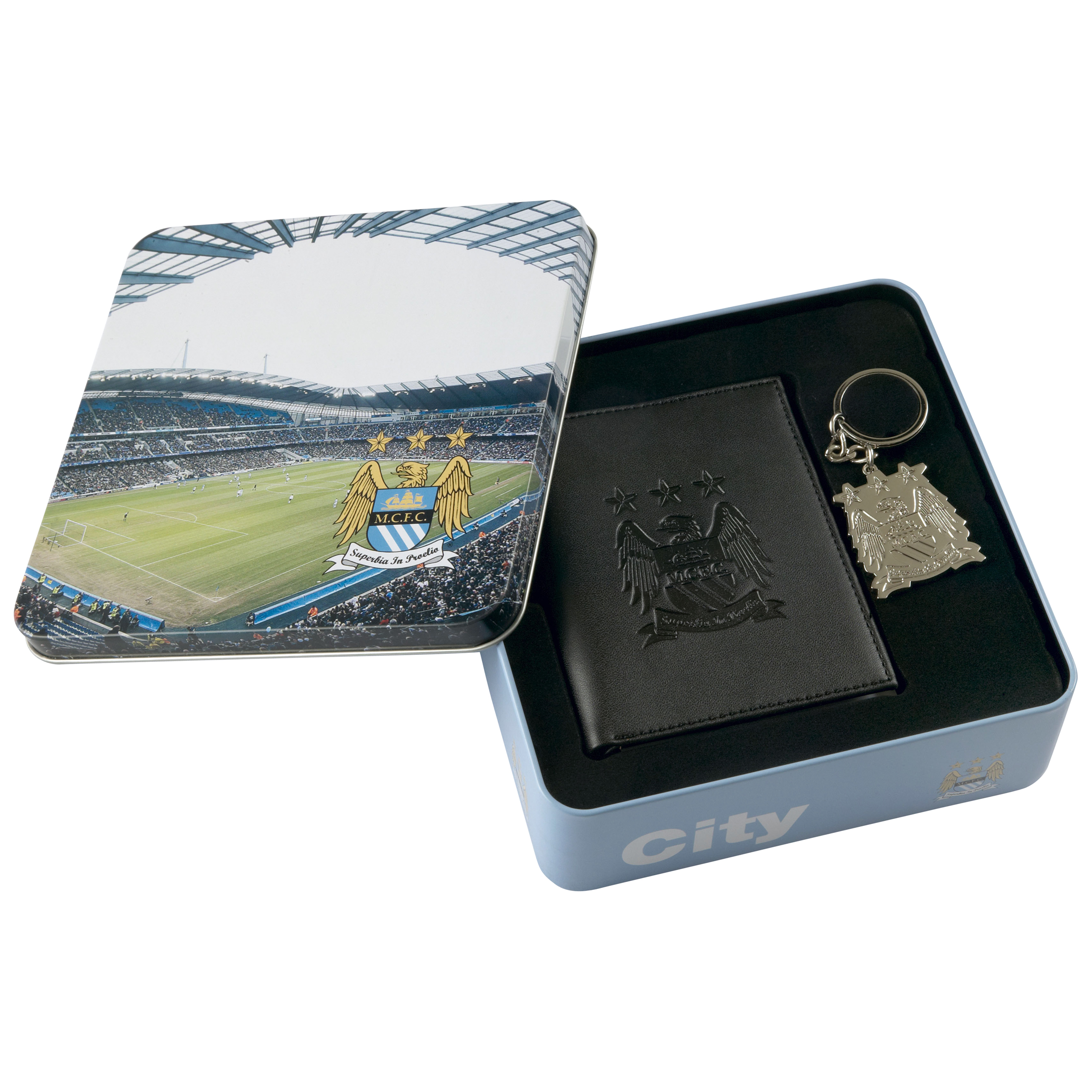 Manchester City Gift Tin Set Wallet and Keyring