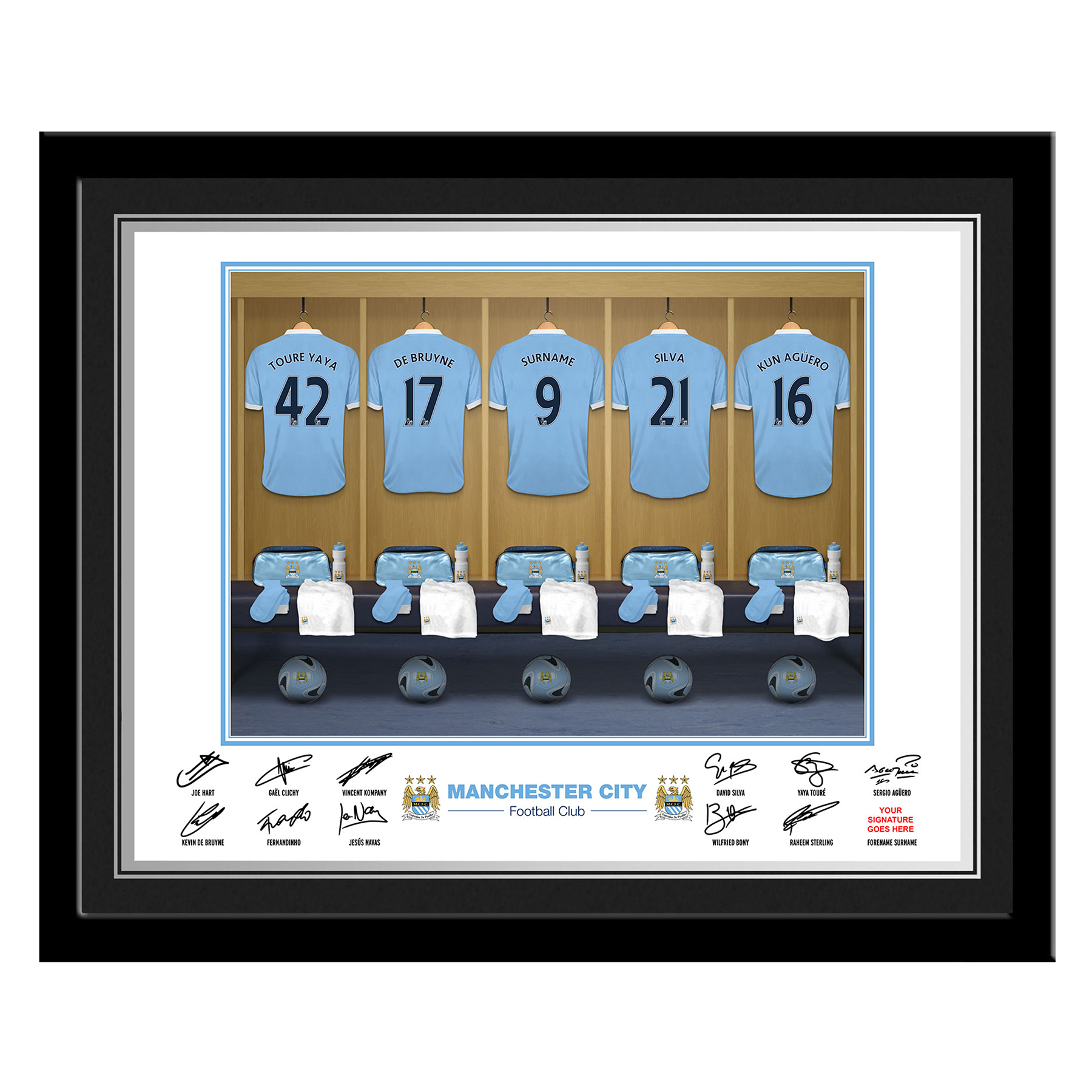 Manchester City Personalised Dressing Room Photo Framed