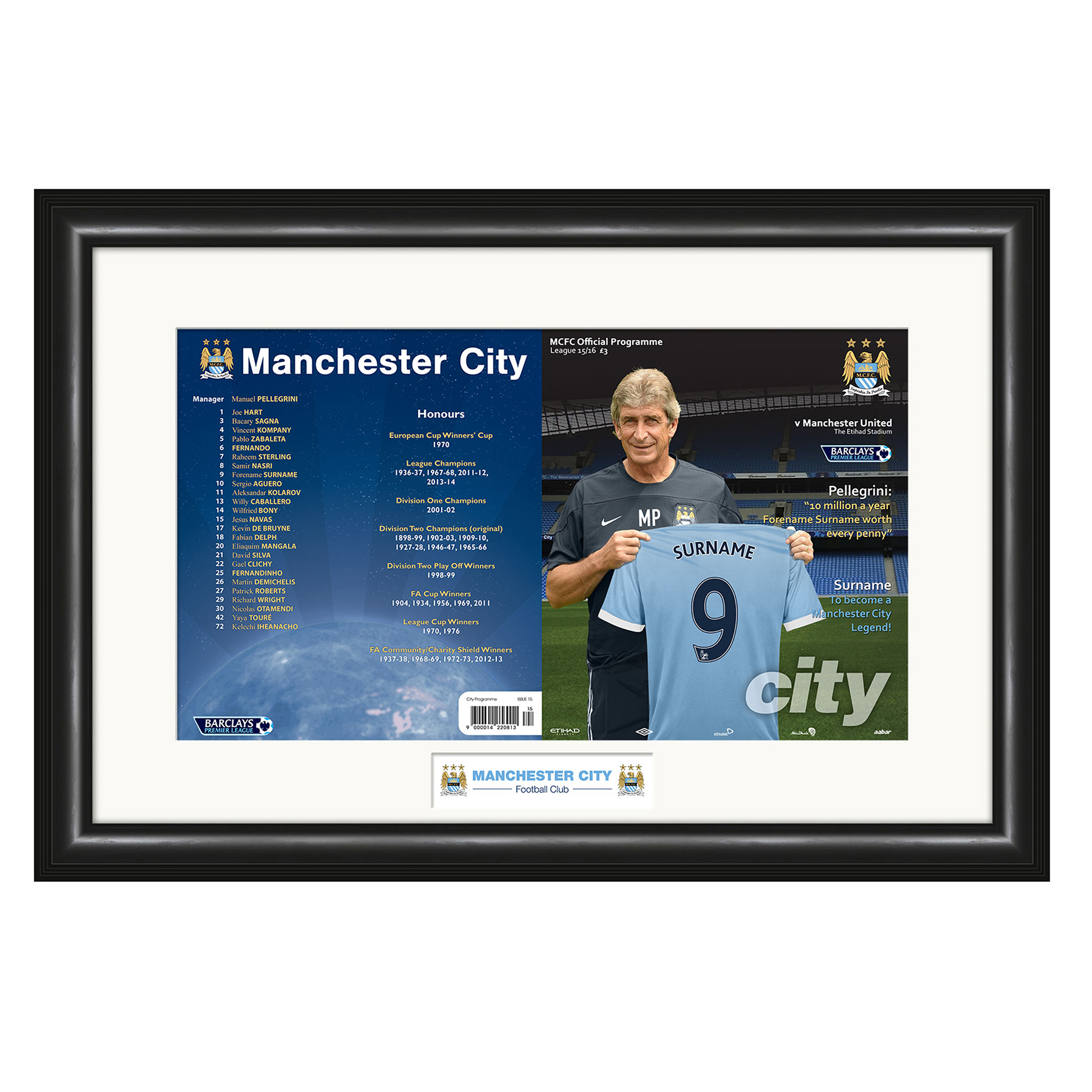 Manchester City Personalised Match Day Programme