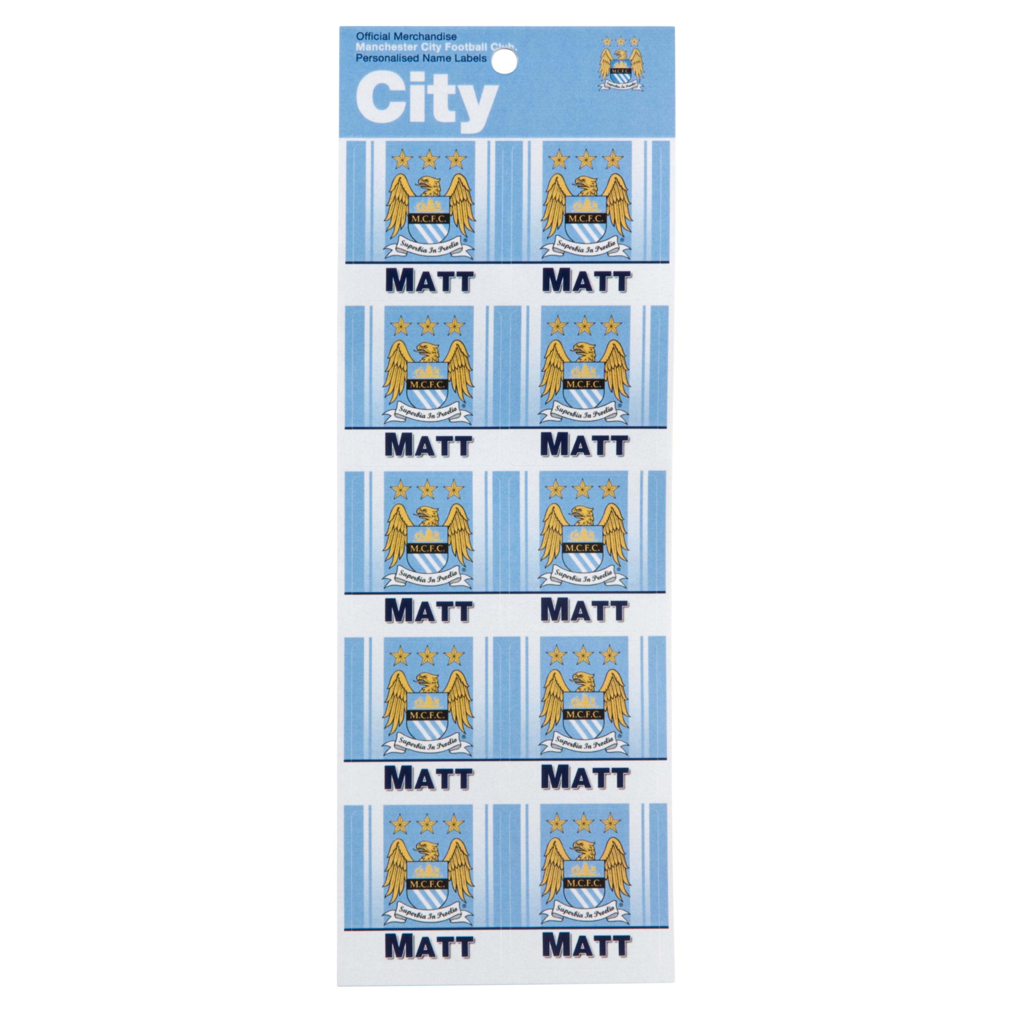 Manchester City Personalised Name Stickers