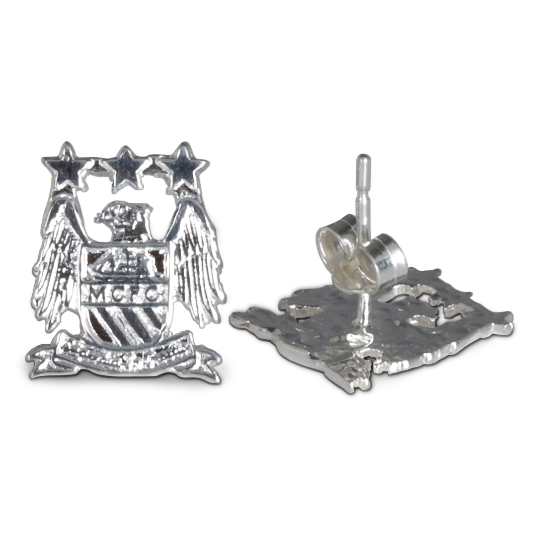 Manchester City Crest Stud Earring - Pair - Sterling Silver