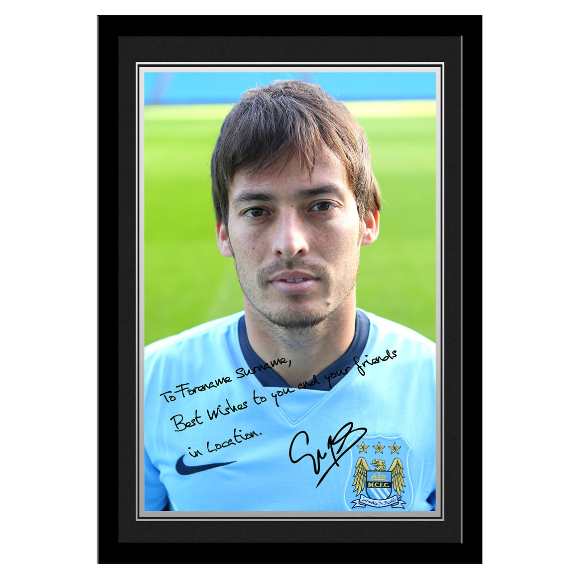 Manchester City Personalised Signature Photo Frame - Silva