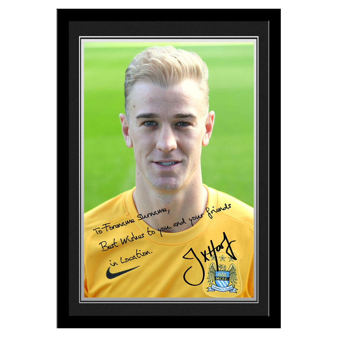 Manchester City Personalised Signature Photo Frame - Hart