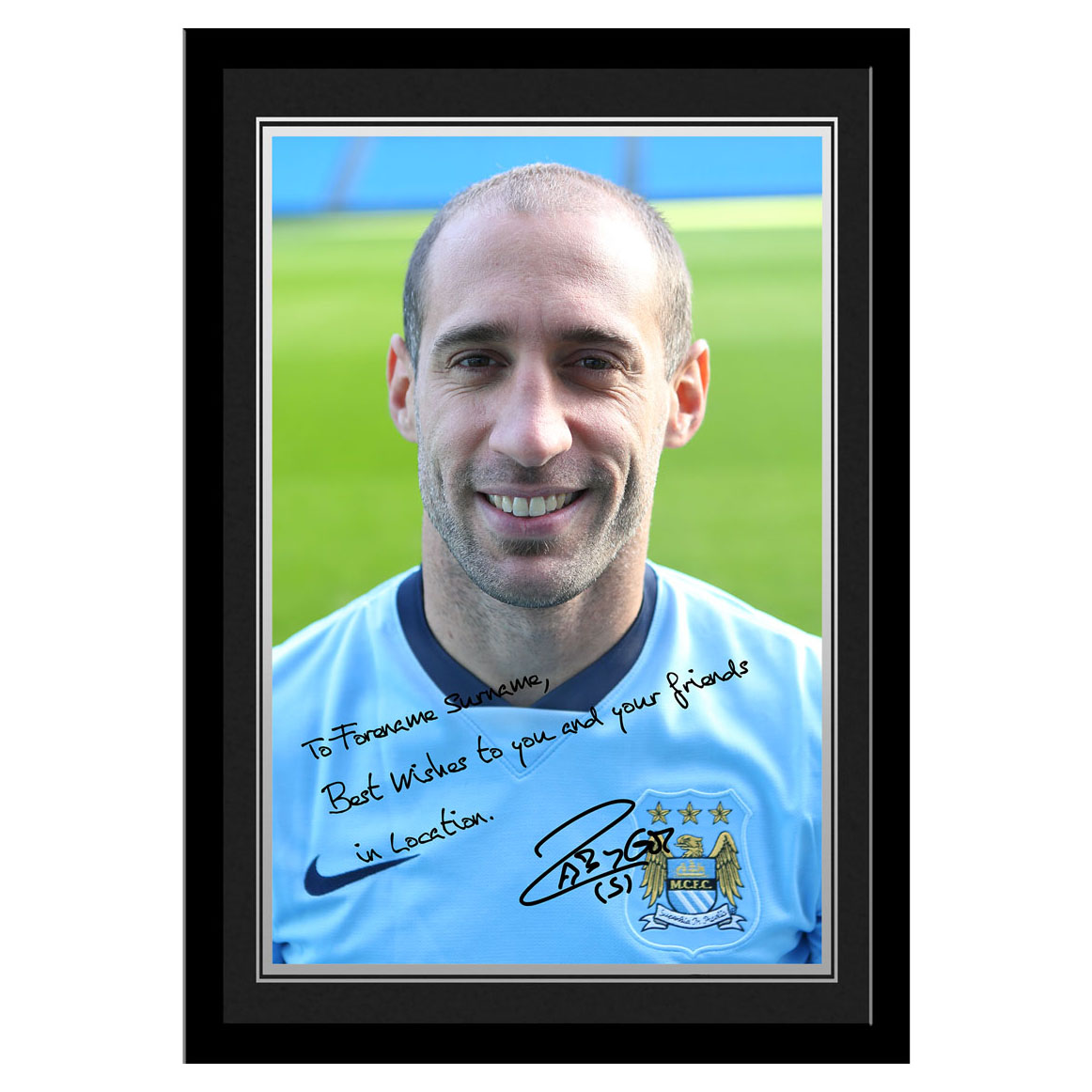 Manchester City Personalised Signature Photo Frame - Zabaleta