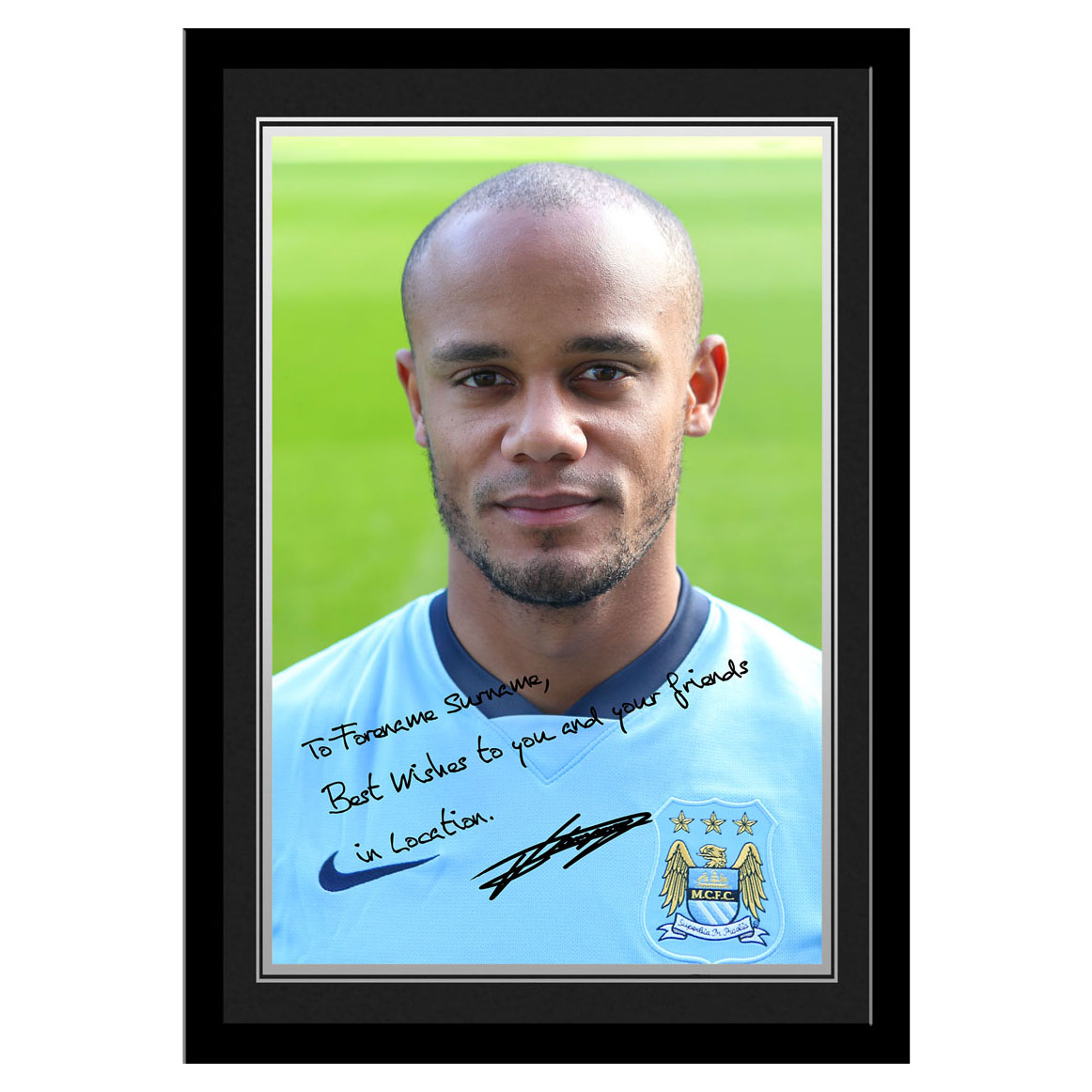 Manchester City Personalised Signature Photo Frame - Kompany