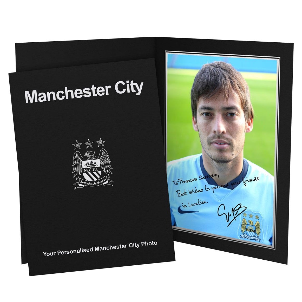Manchester City Personalised Signature Photo in Presentation Folder - Silva
