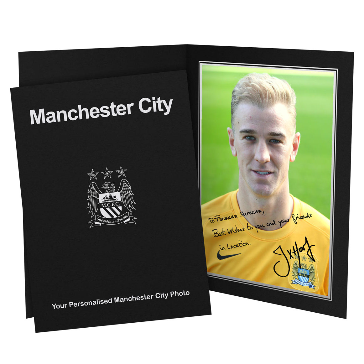 Manchester City Personalised Signature Photo in Presentation Folder - Hart