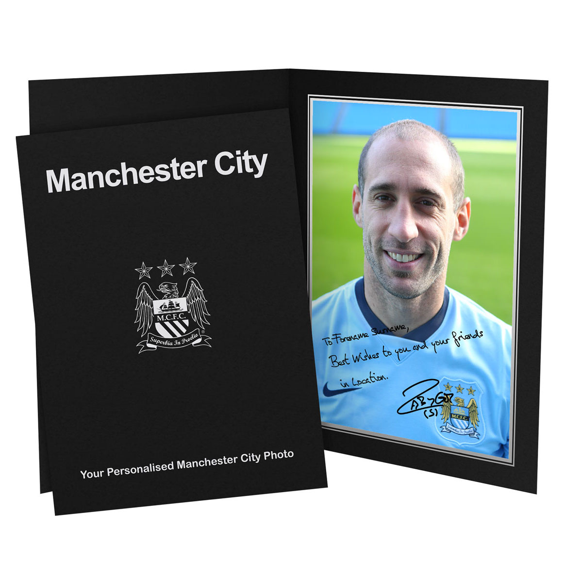 Manchester City Personalised Signature Photo in Presentation Folder - Zabaleta