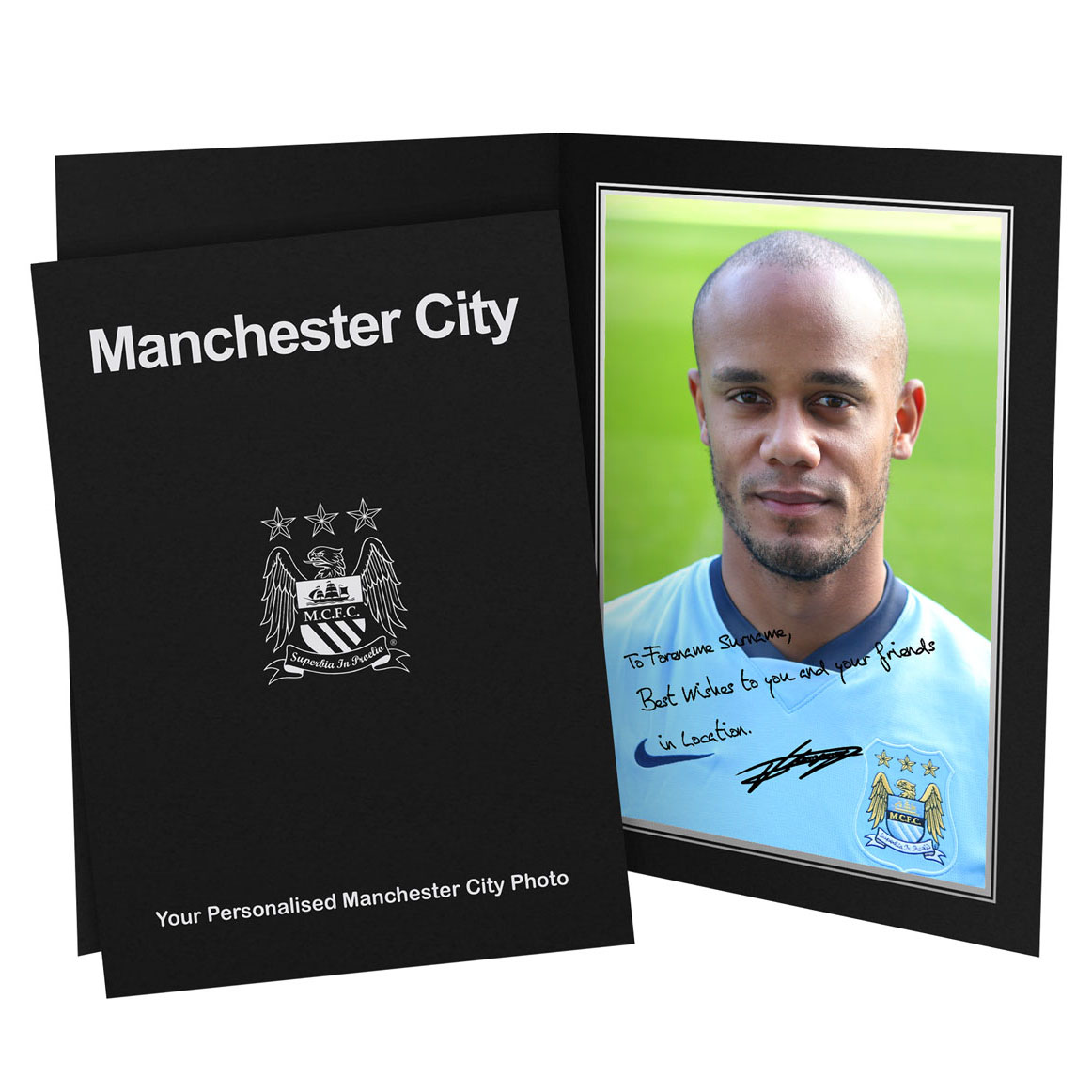 Manchester City Personalised Signature Photo in Presentation Folder - Kompany