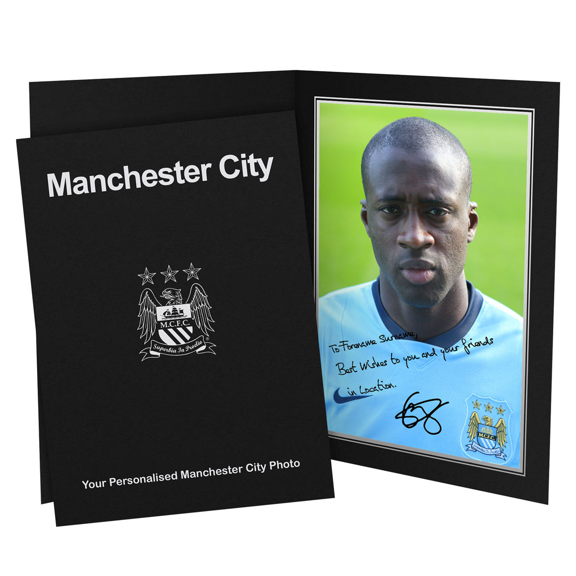 Manchester City Personalised Signature Photo in Presentation Folder - Yaya Toure