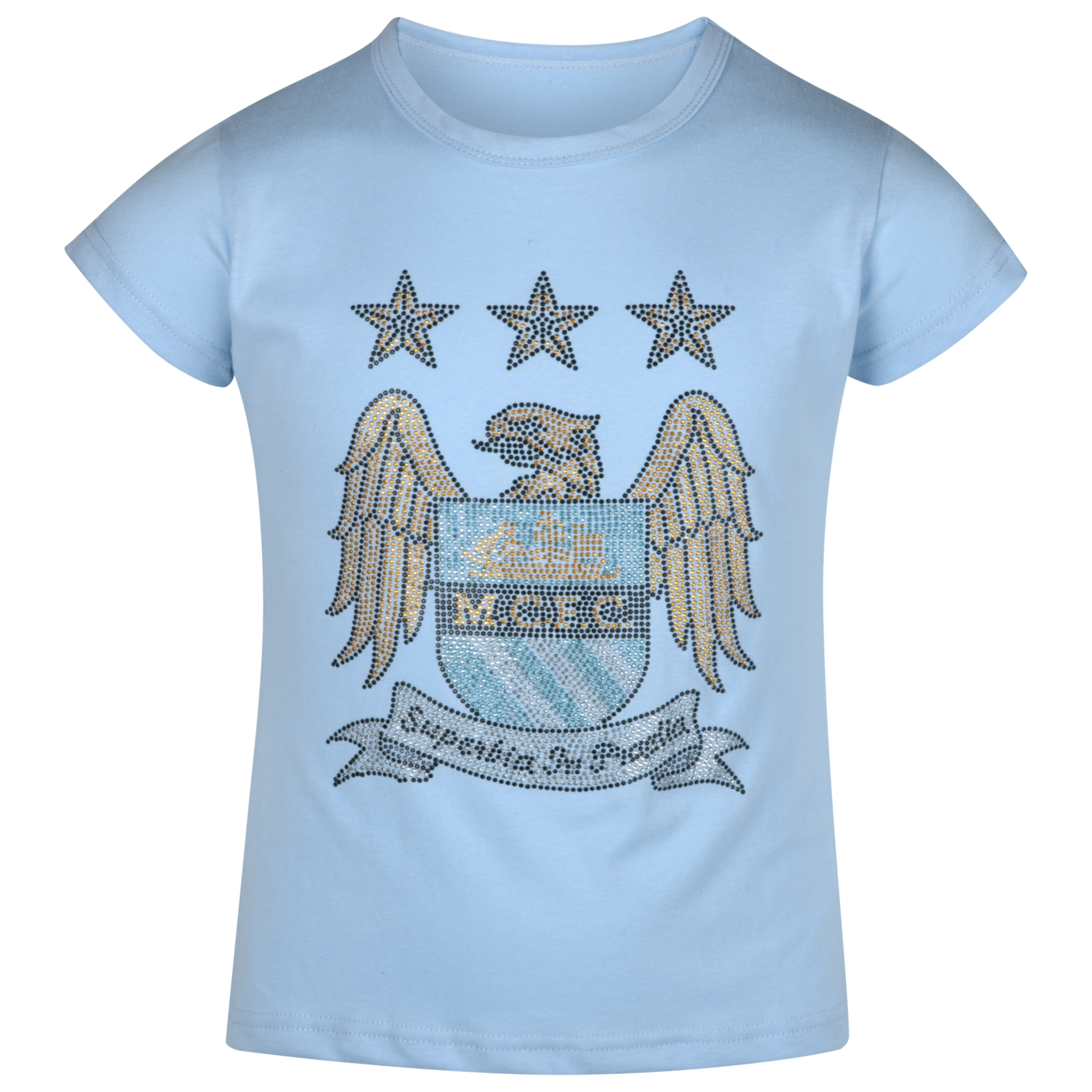 Manchester City Essential Rhinestone T-Shirt - Sky - Girls