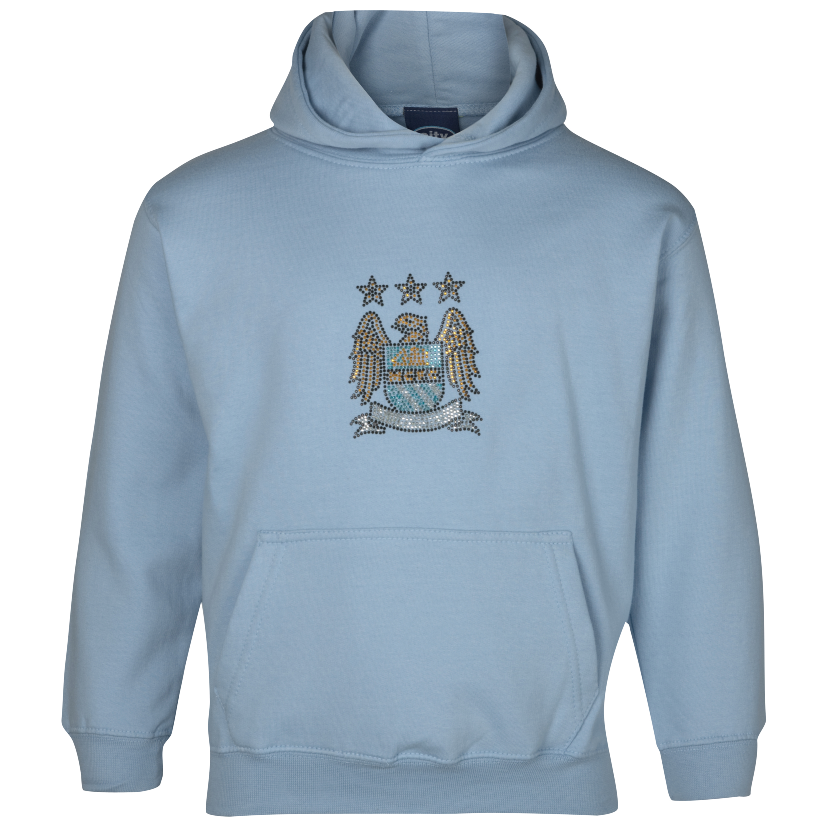 Manchester City Essential Rhinestone Hoodie - Sky - Girls