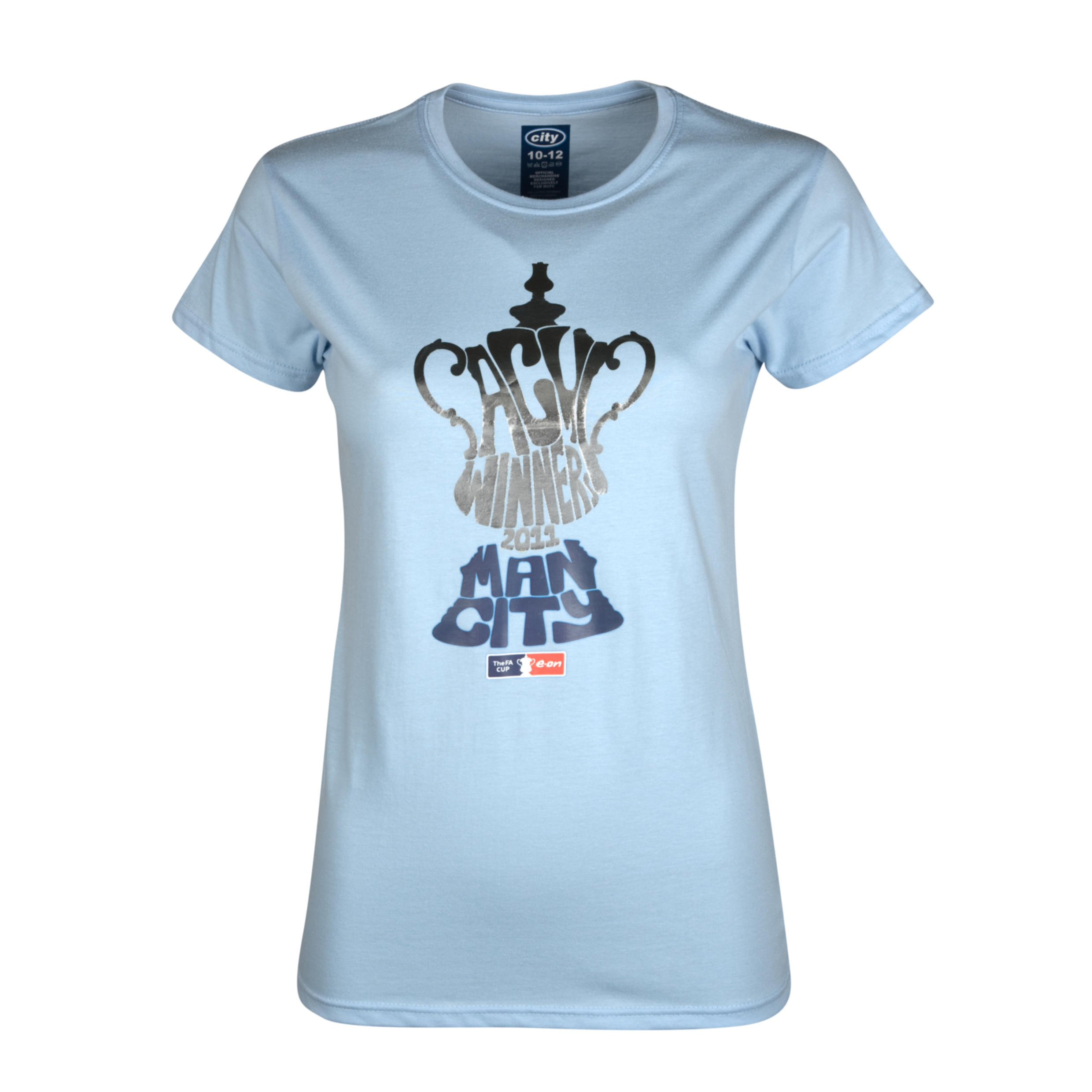 Manchester City The FA Cup Winners T-Shirt - Sky - Womens