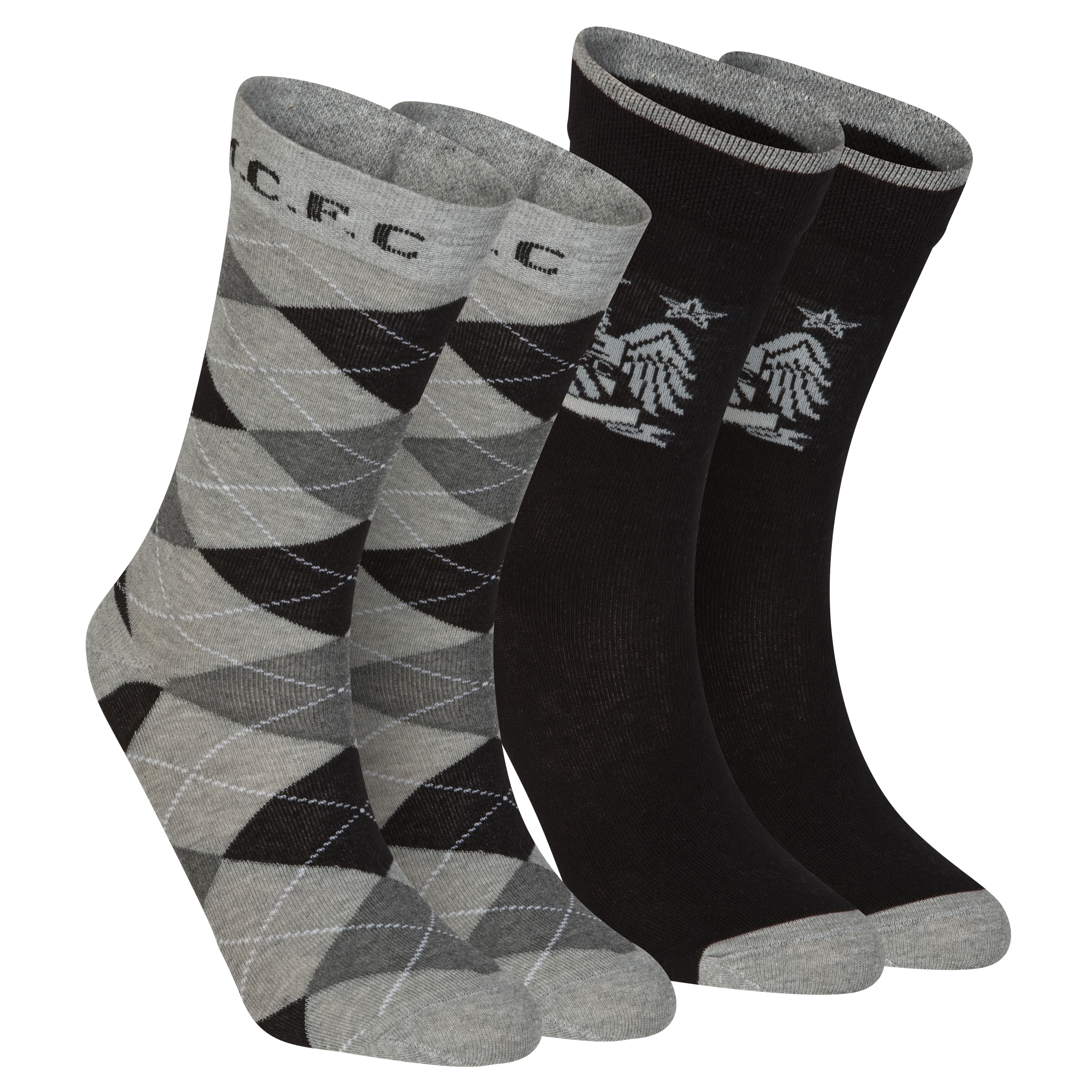Manchester City Pack of 2 Dress Socks - Black/Grey - Boys