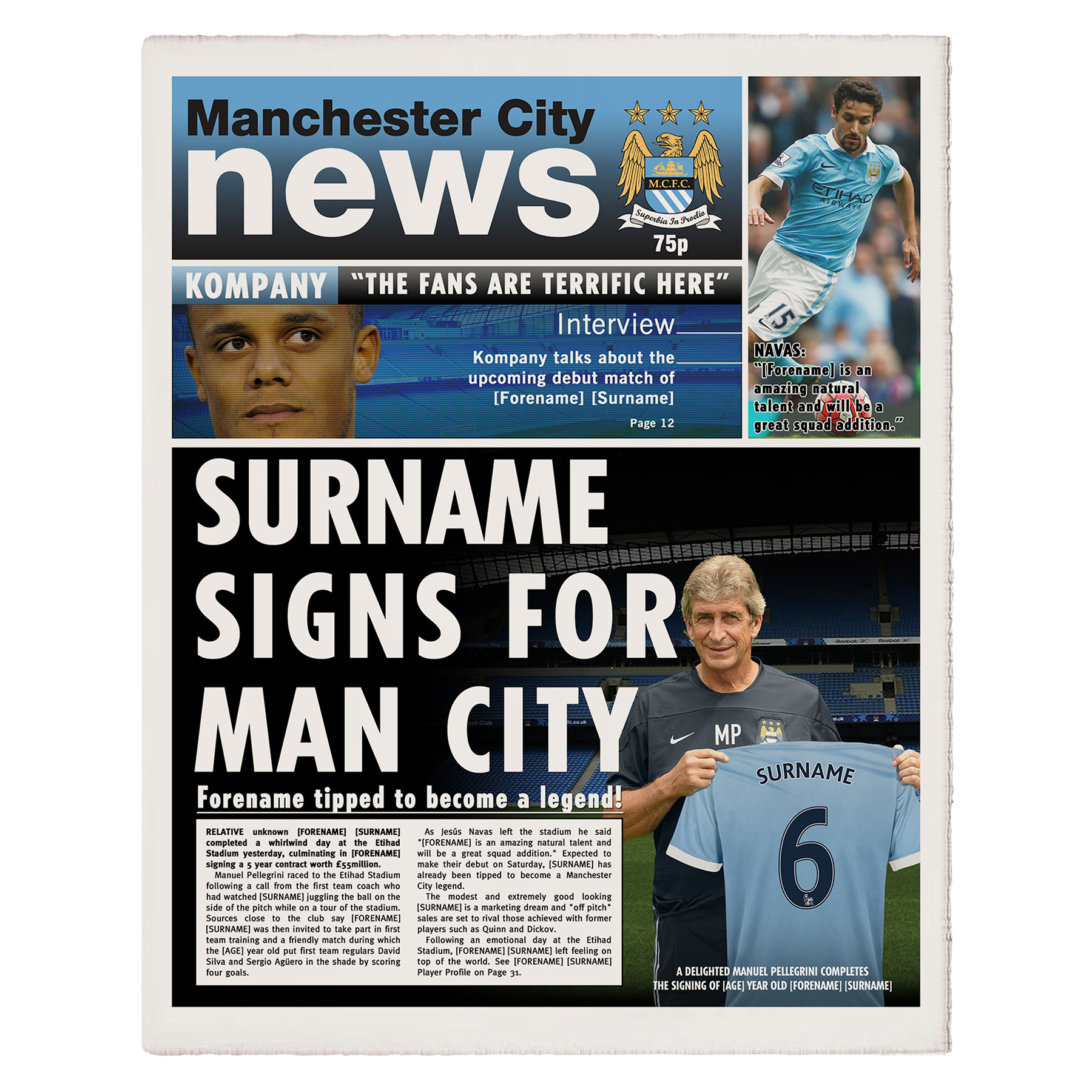 Manchester City Personalised Newspaper Single Page