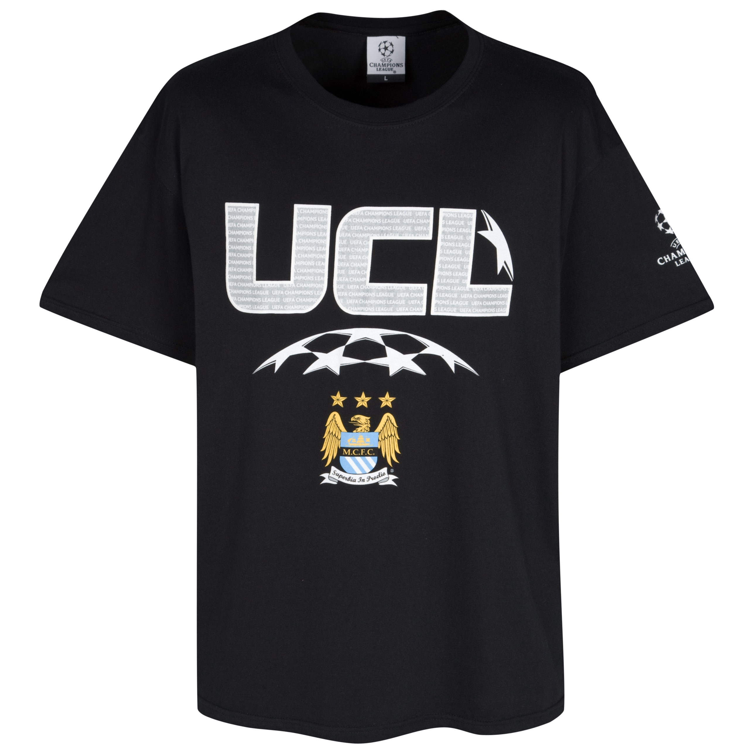 Manchester City Champions League High Build Printed T-Shirt - Black - Jnr