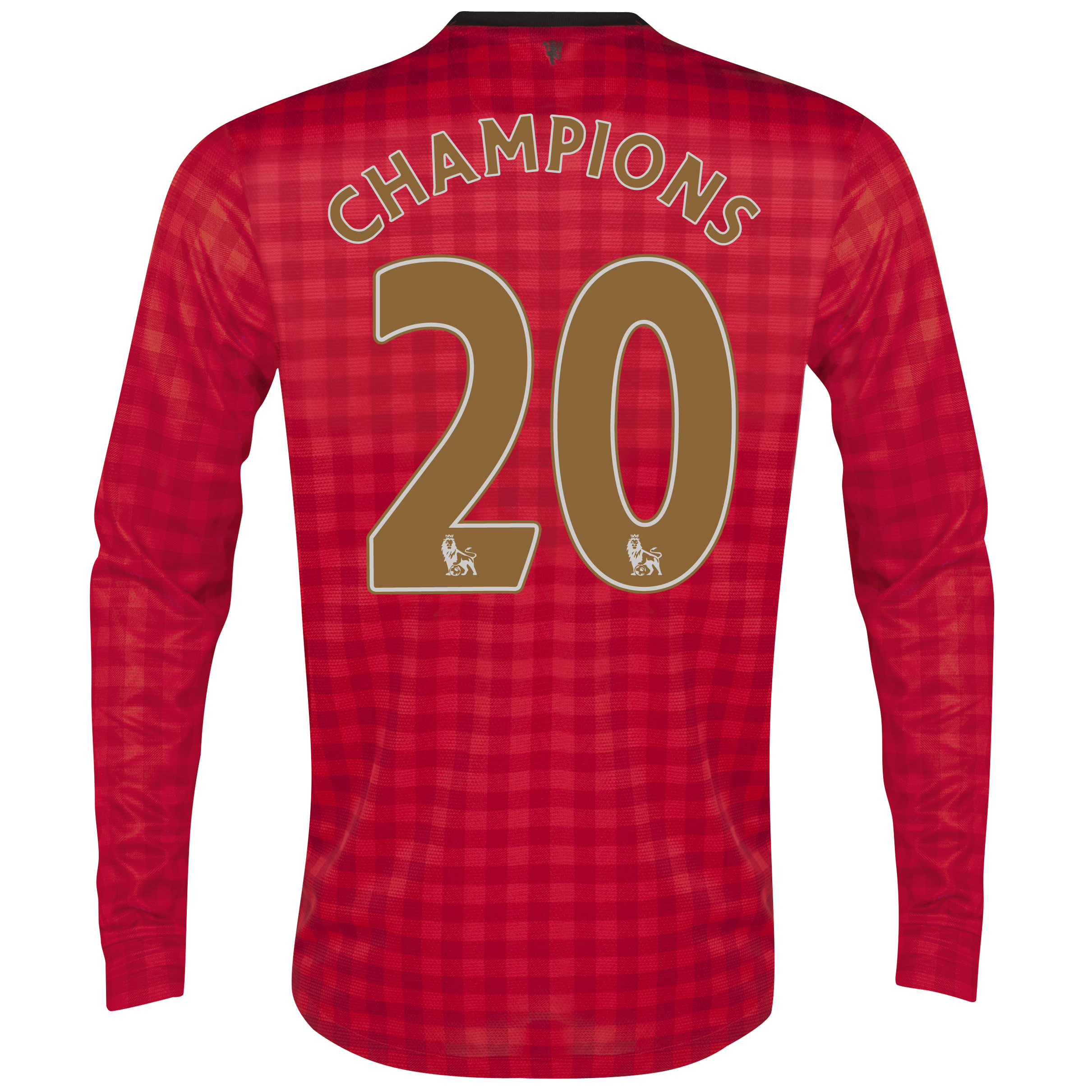 Manchester United Home Shirt 2012/13 - Long Sleeved  - Kids with Champions 20 printing