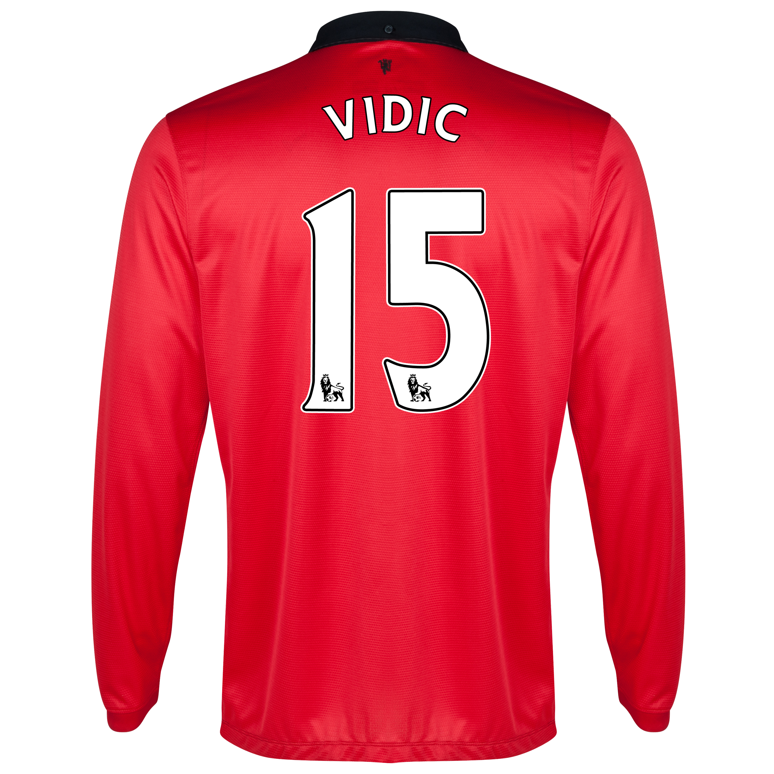 Manchester United Home Shirt 2013/14 - Long Sleeved with Vidic 15 printing