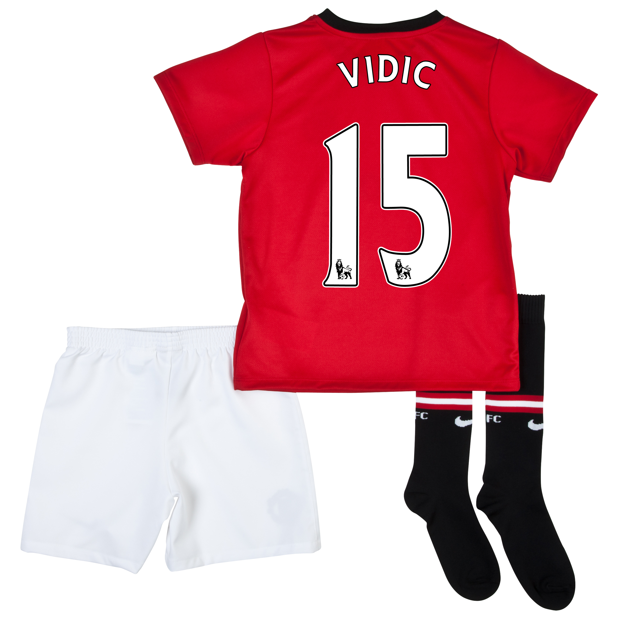Manchester United Home Kit 2013/14 - Little Boys with Vidic 15 printing