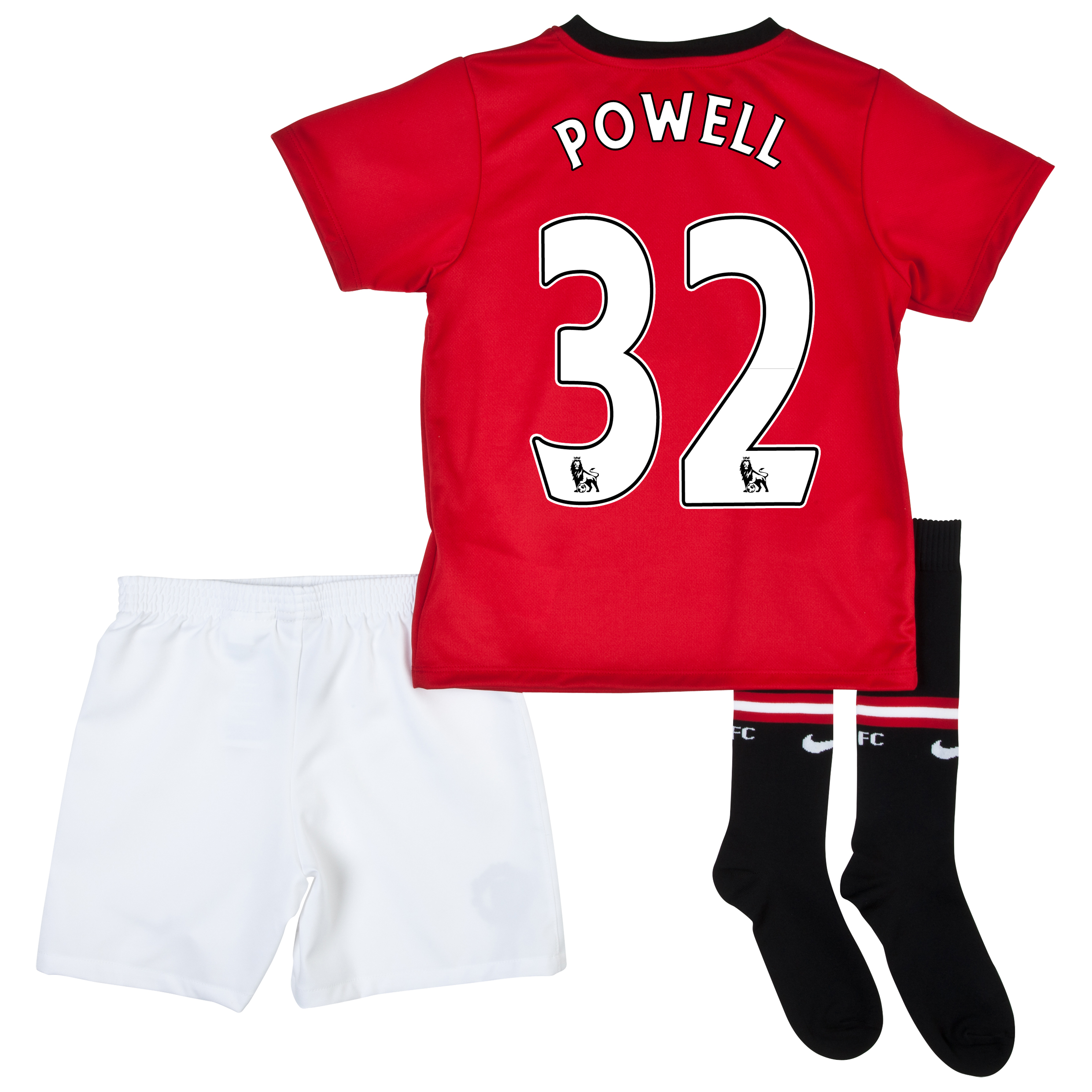 Manchester United Home Kit 2013/14 - Little Boys with Powell 32 printing