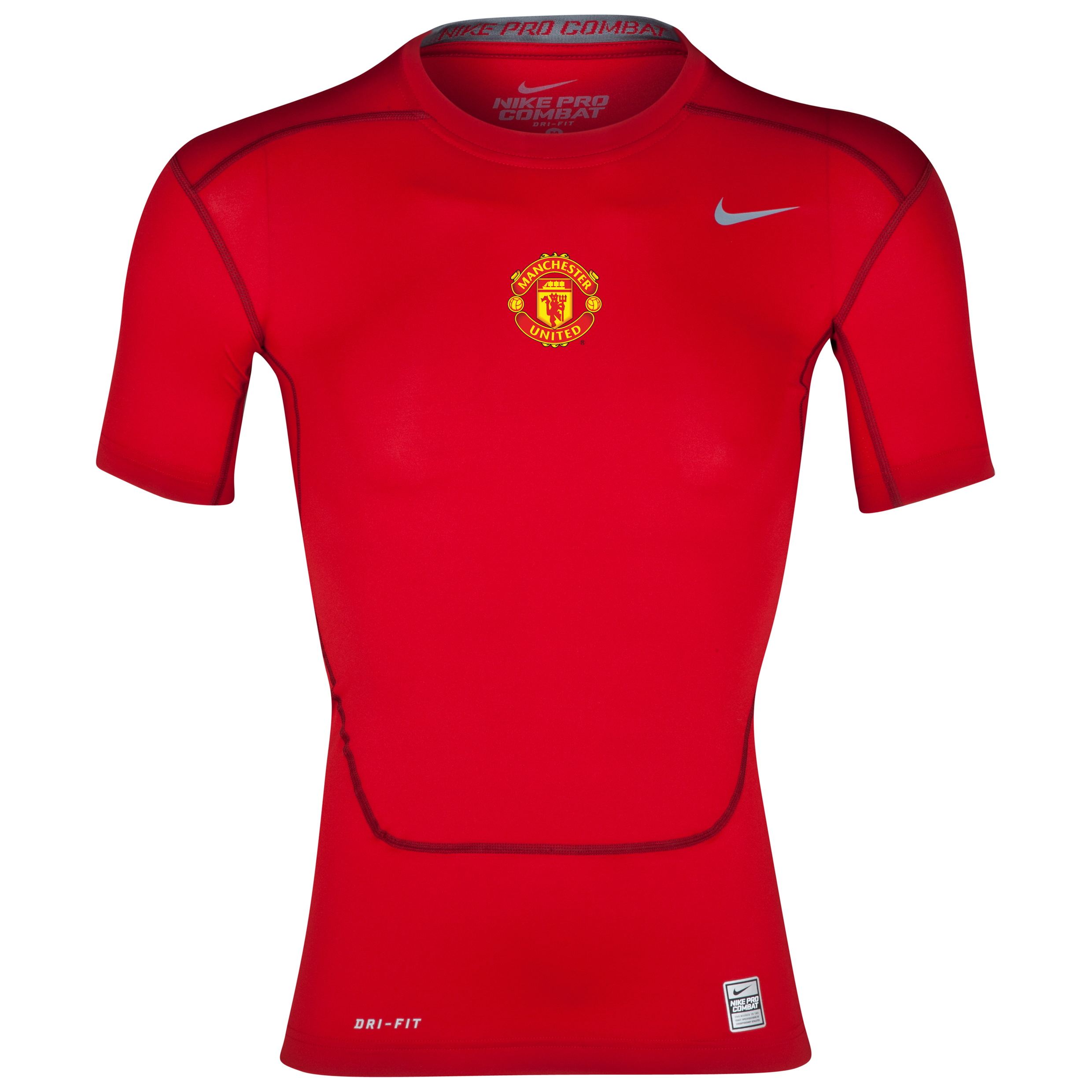 Nike Pro Combat Core Base Layer Top Red with Man United printing
