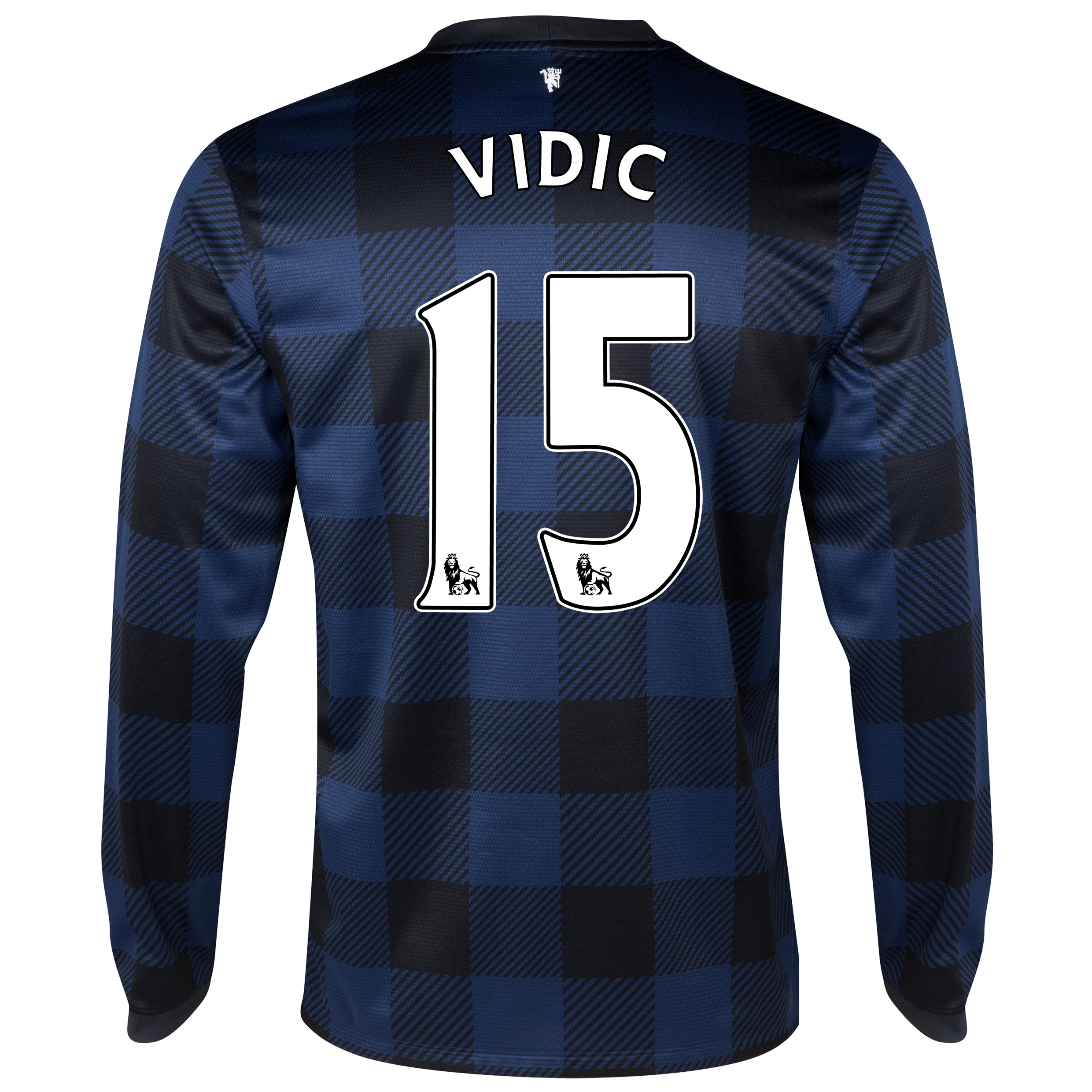 Manchester United Away Shirt 2013/14 - Long Sleeved - Kids with Vidic 15 printing
