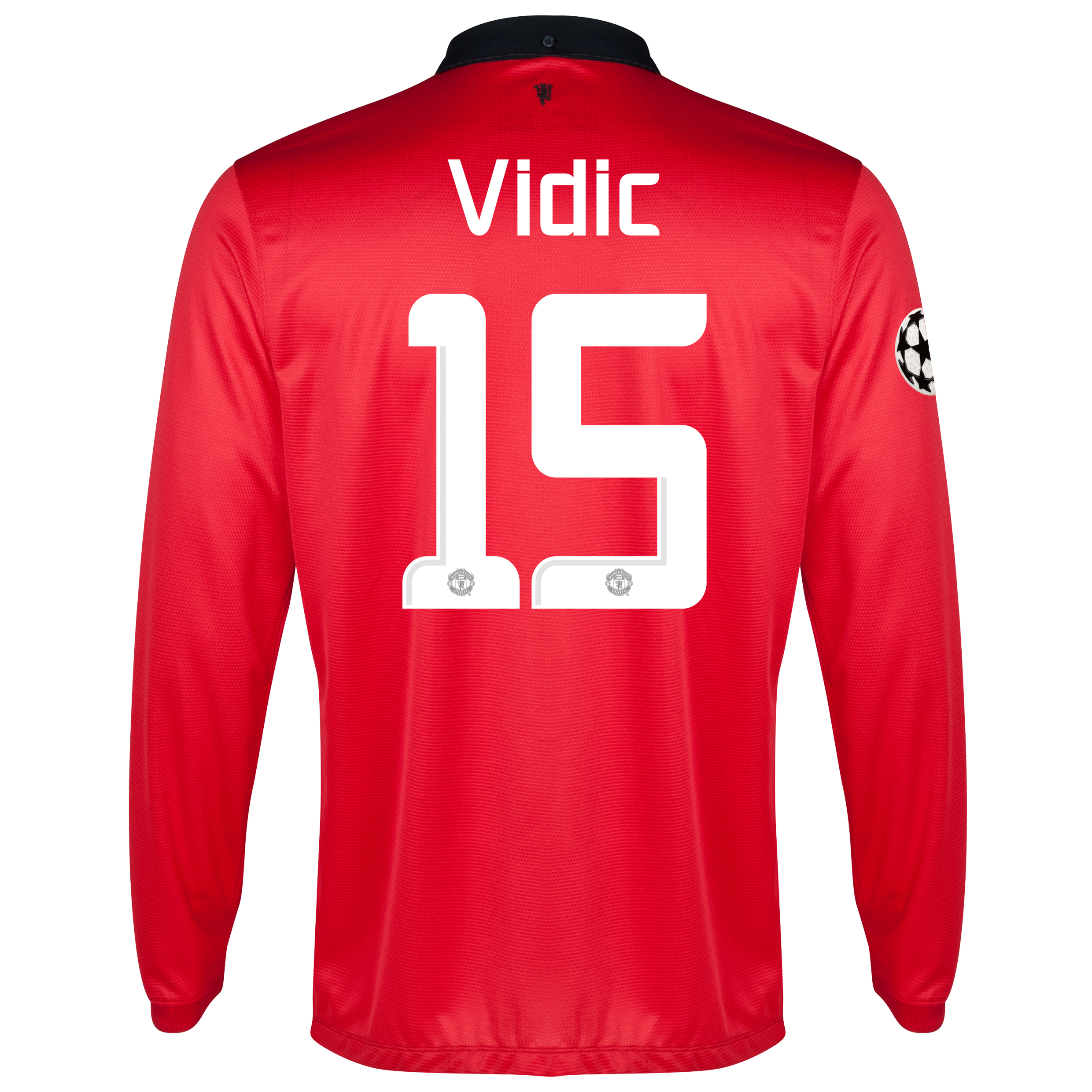 Manchester United UEFA Champions League Home Shirt 2013/14 - Long Sleeved with Vidic 15 printing