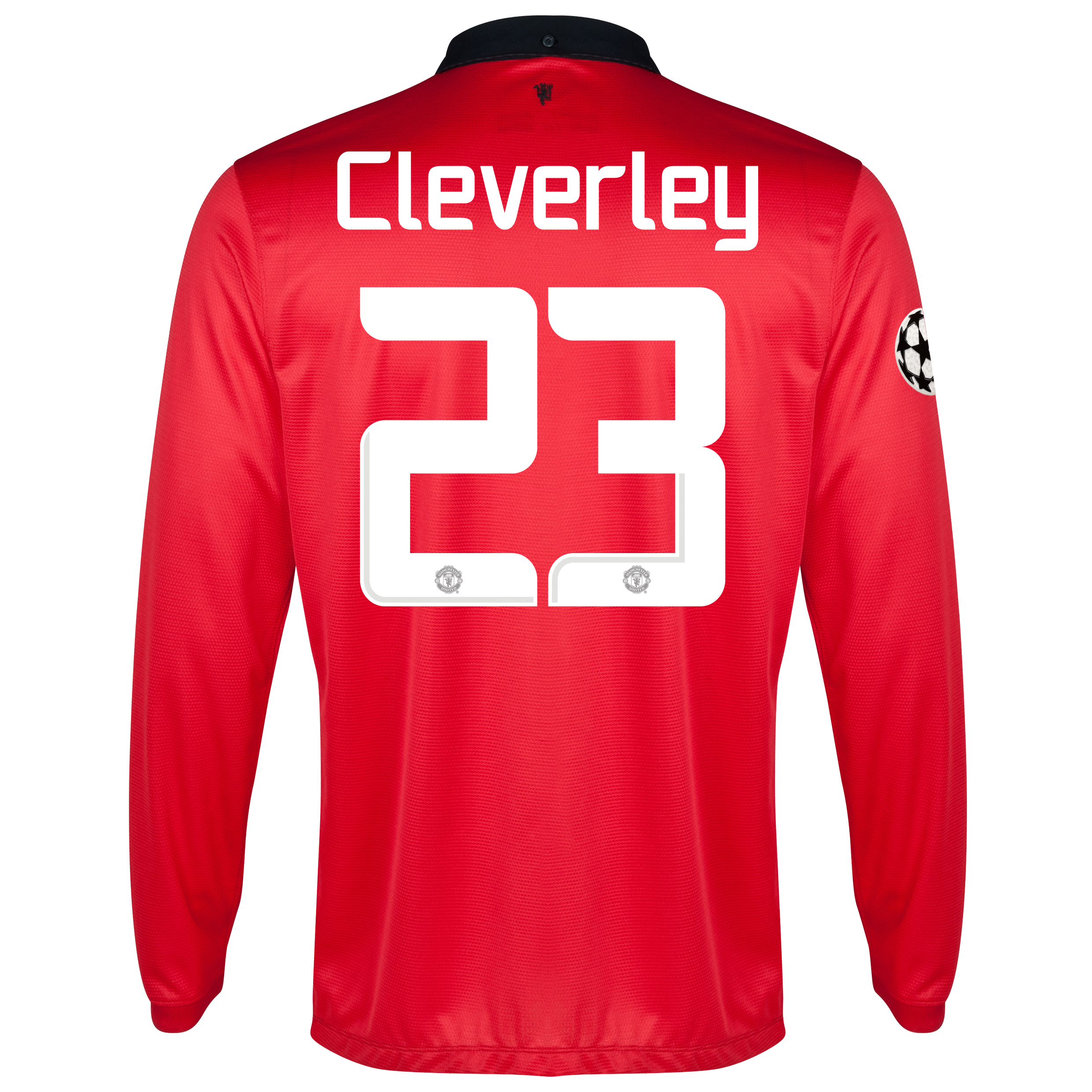 Manchester United UEFA Champions League Home Shirt 2013/14 - Long Sleeved with Cleverley 23 printing