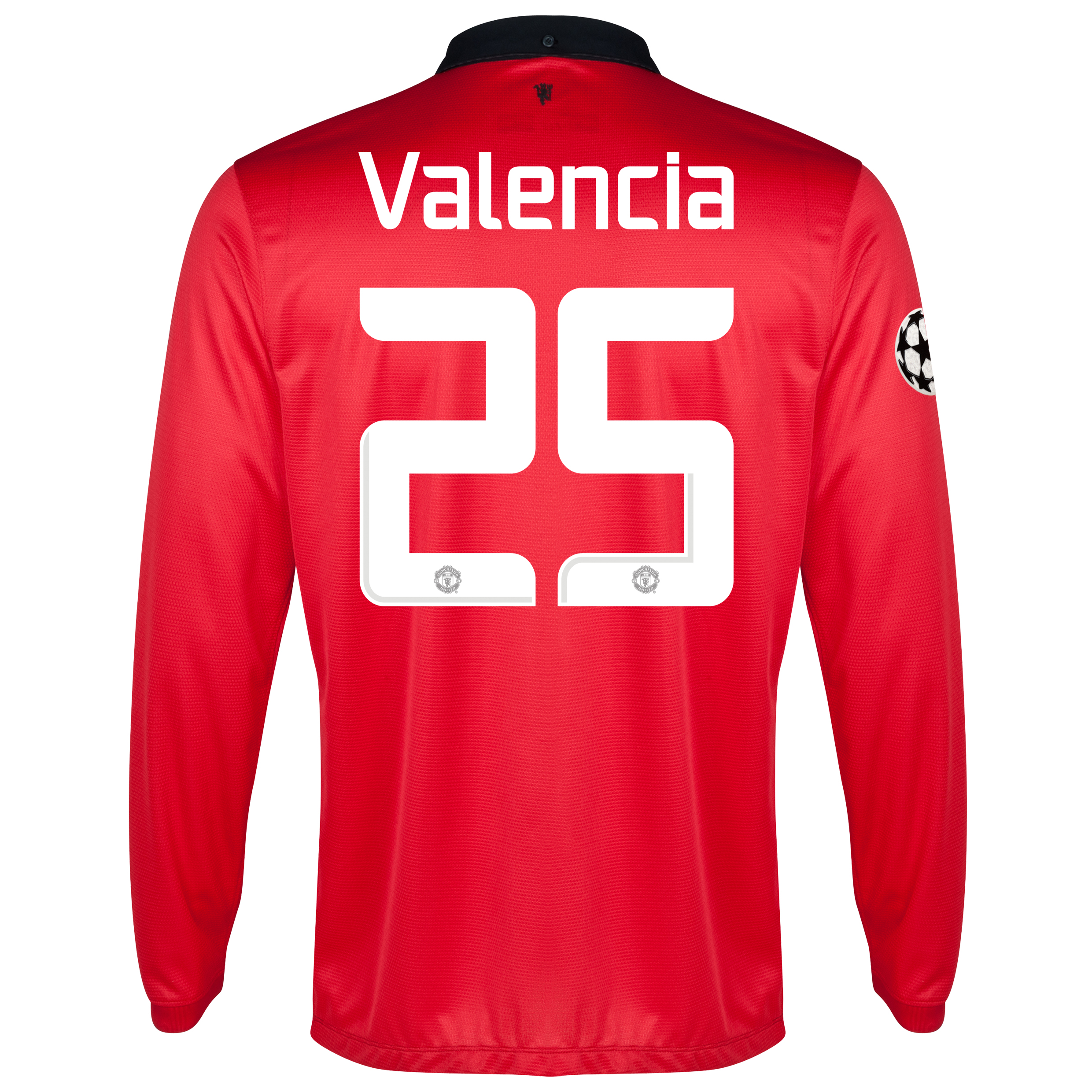 Manchester United UEFA Champions League Home Shirt 2013/14 - Long Sleeved with Valencia 25 printing