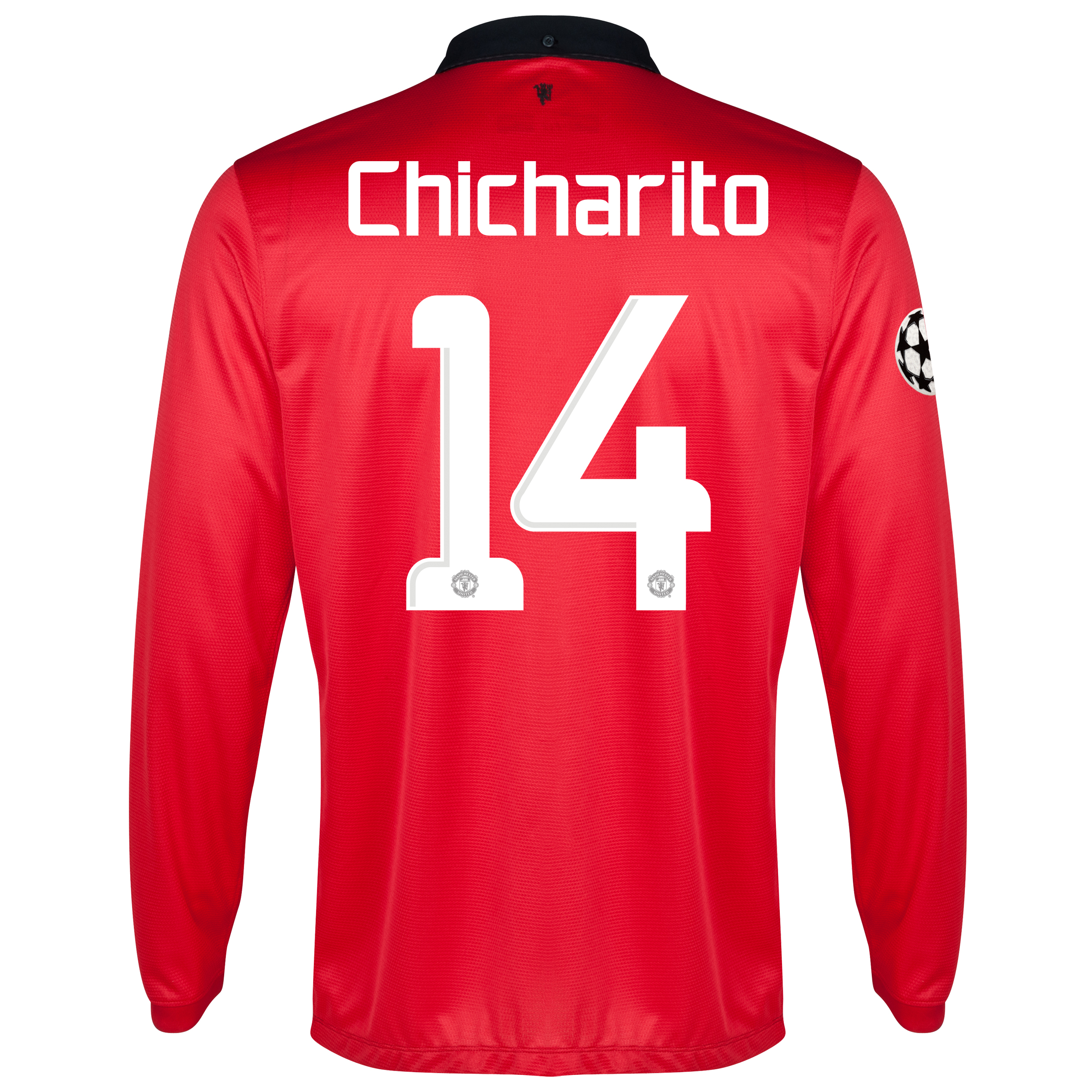 Manchester United UEFA Champions League Home Shirt 2013/14 - Long Sleeved - Kids with Chicharito 14 printing