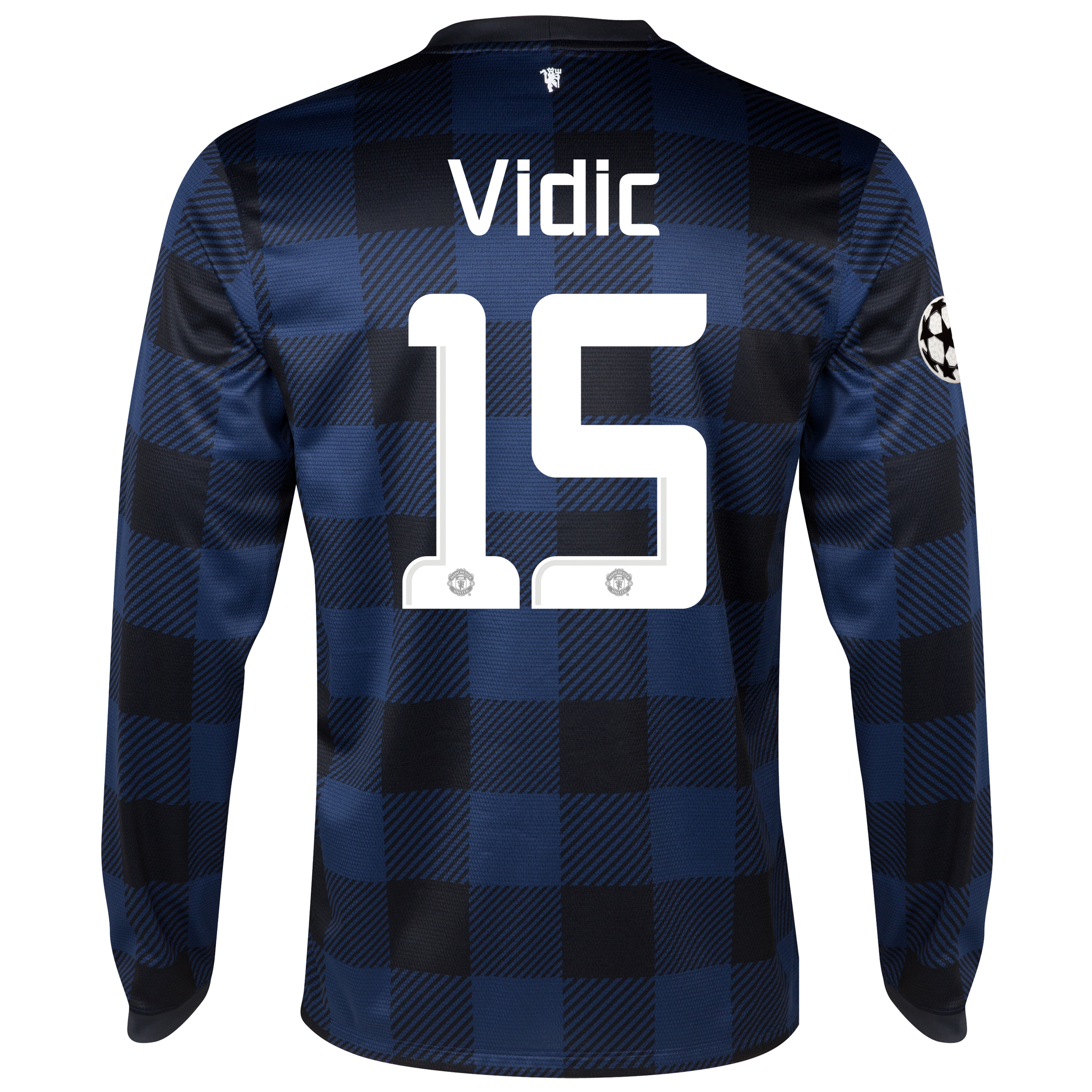 Manchester United UEFA Champions League Away Shirt 2013/14 - Long Sleeved with Vidic 15 printing