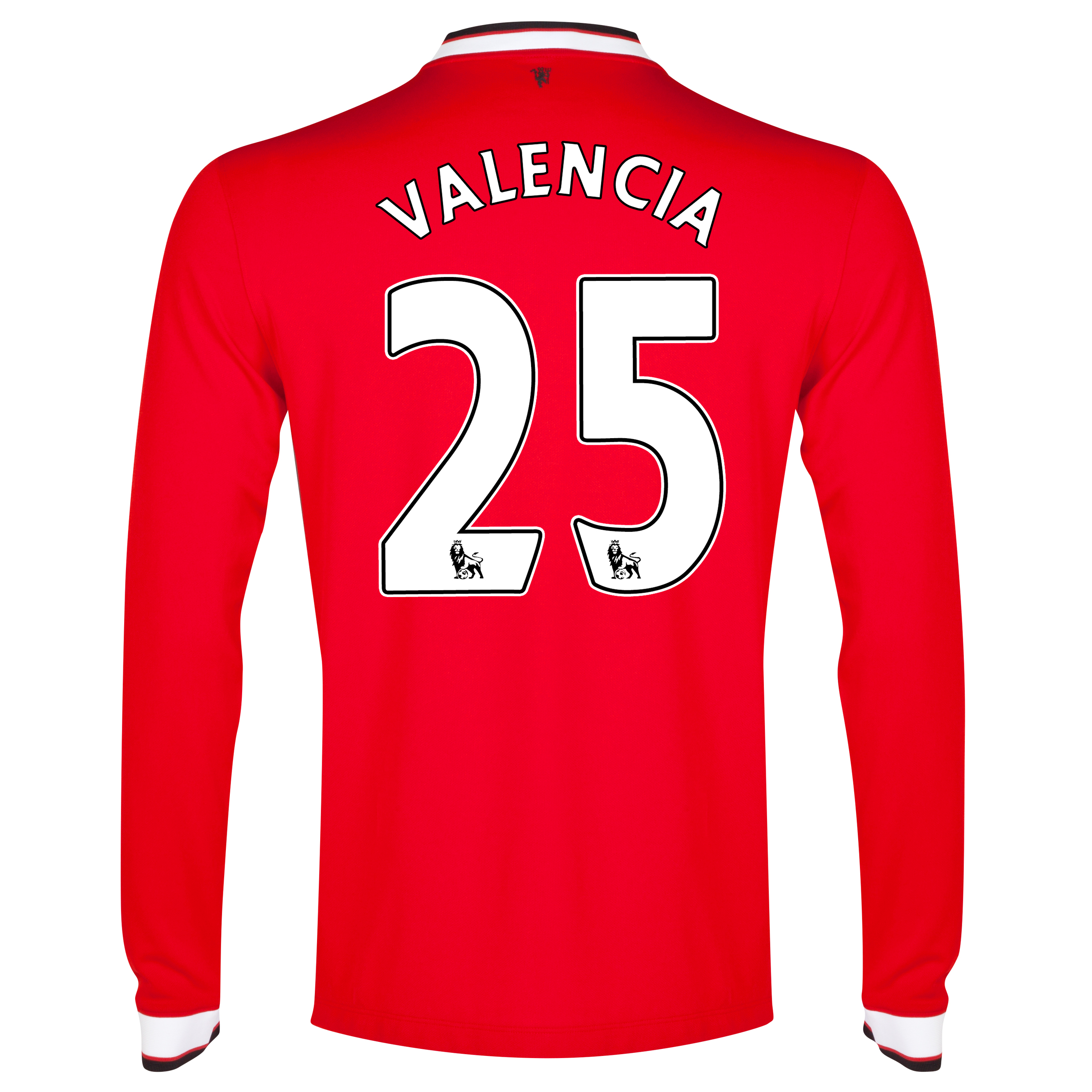 Manchester United Home Shirt 2014/15 - Long Sleeve Red with Valencia 25 printing