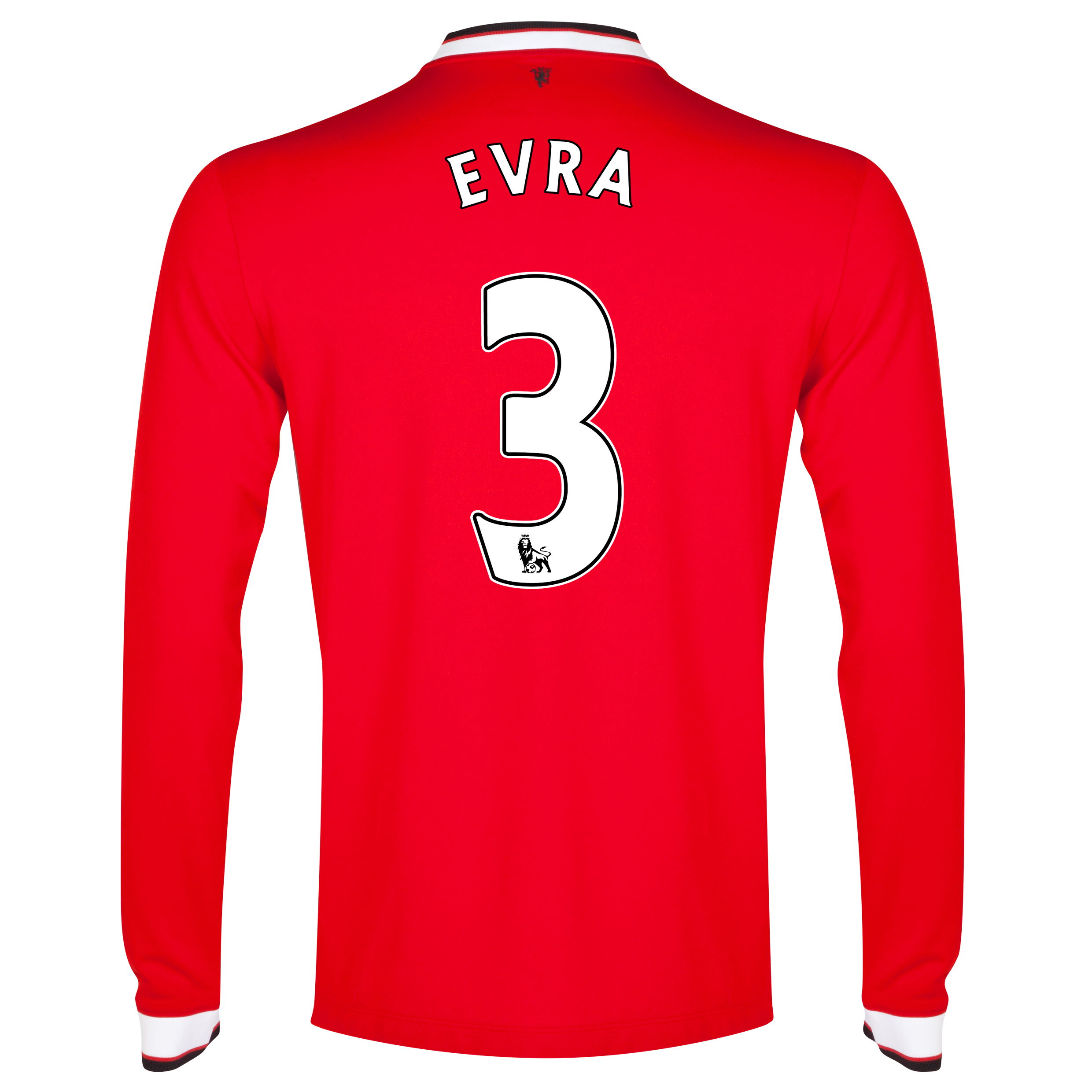 Manchester United Home Shirt 2014/15 - Long Sleeve - Kids Red with Evra 3 printing