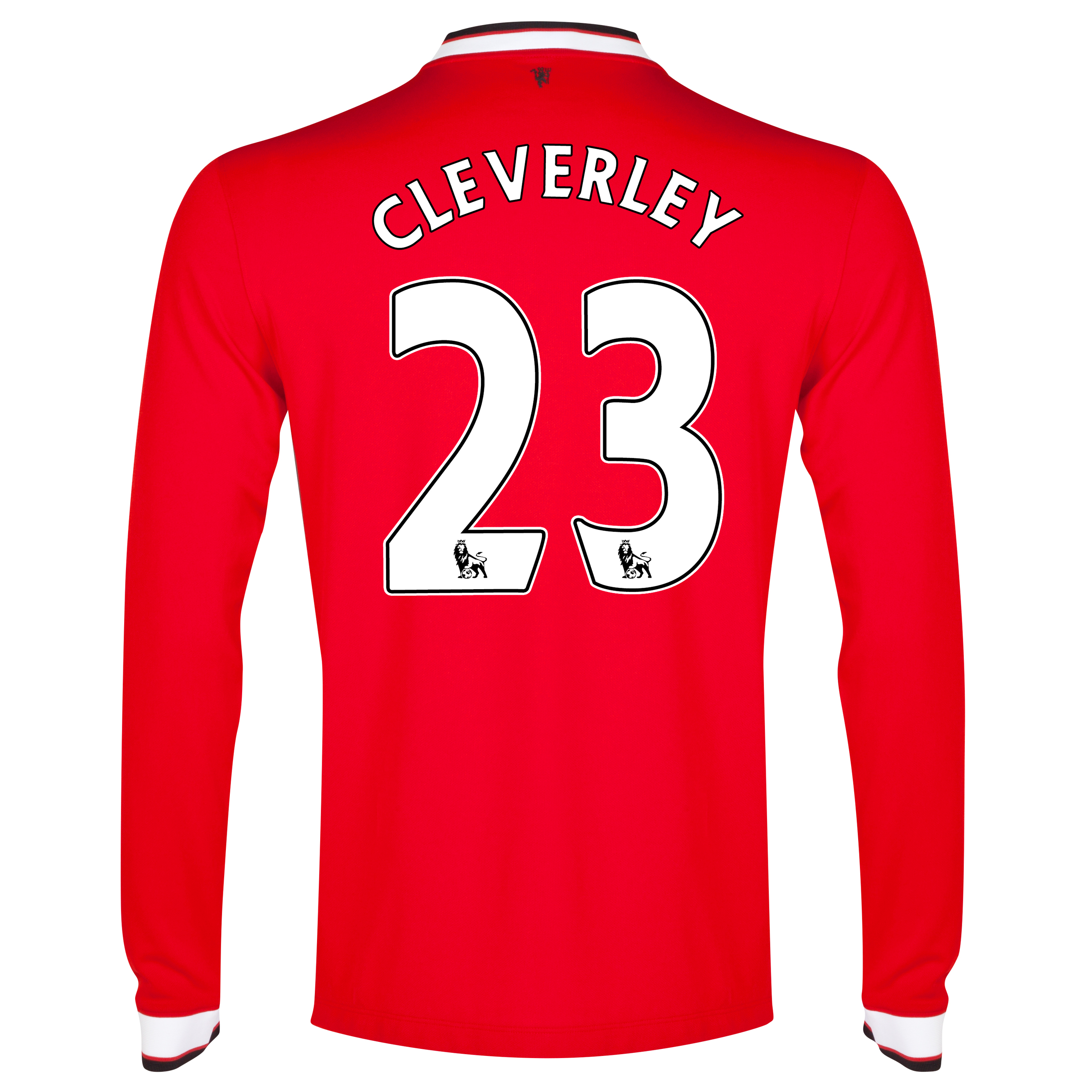 Manchester United Home Shirt 2014/15 - Long Sleeve - Kids Red with Cleverley 23 printing