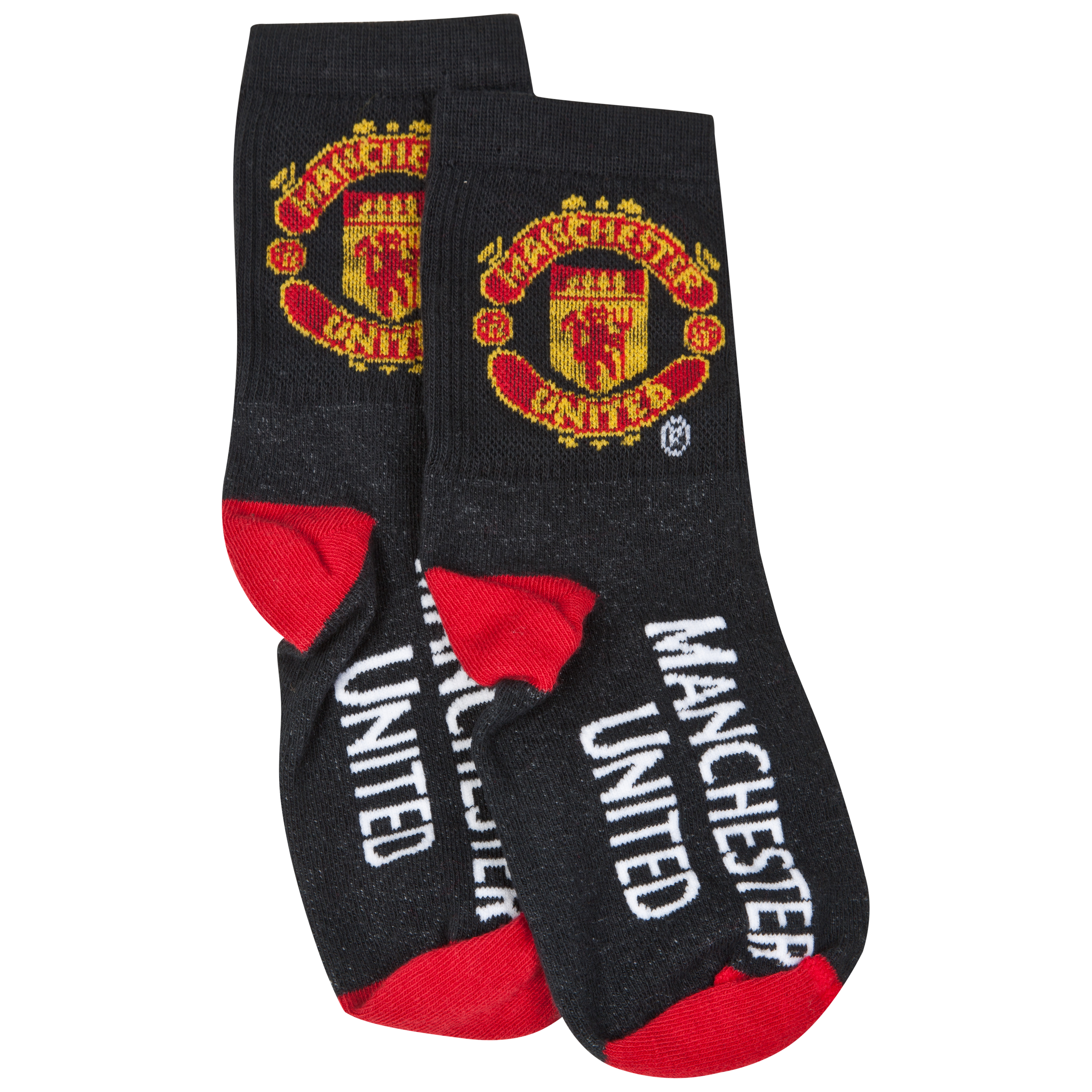 Manchester United Crest Sports Socks - Black - Boys