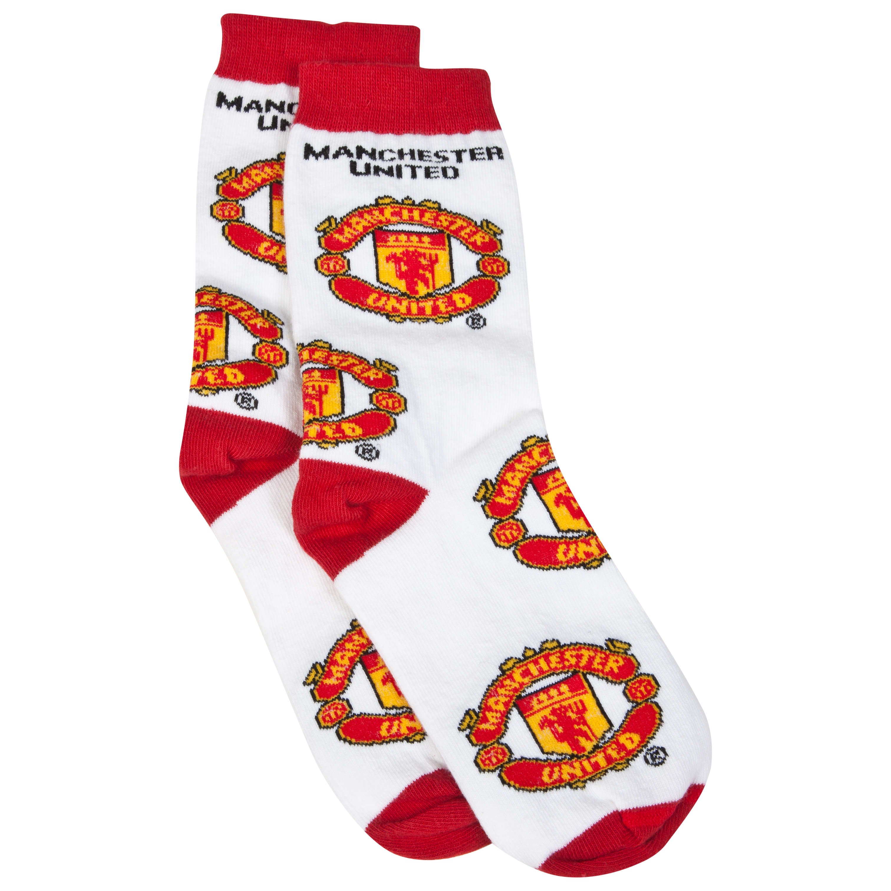 Manchester United Crest Socks - White - Kids