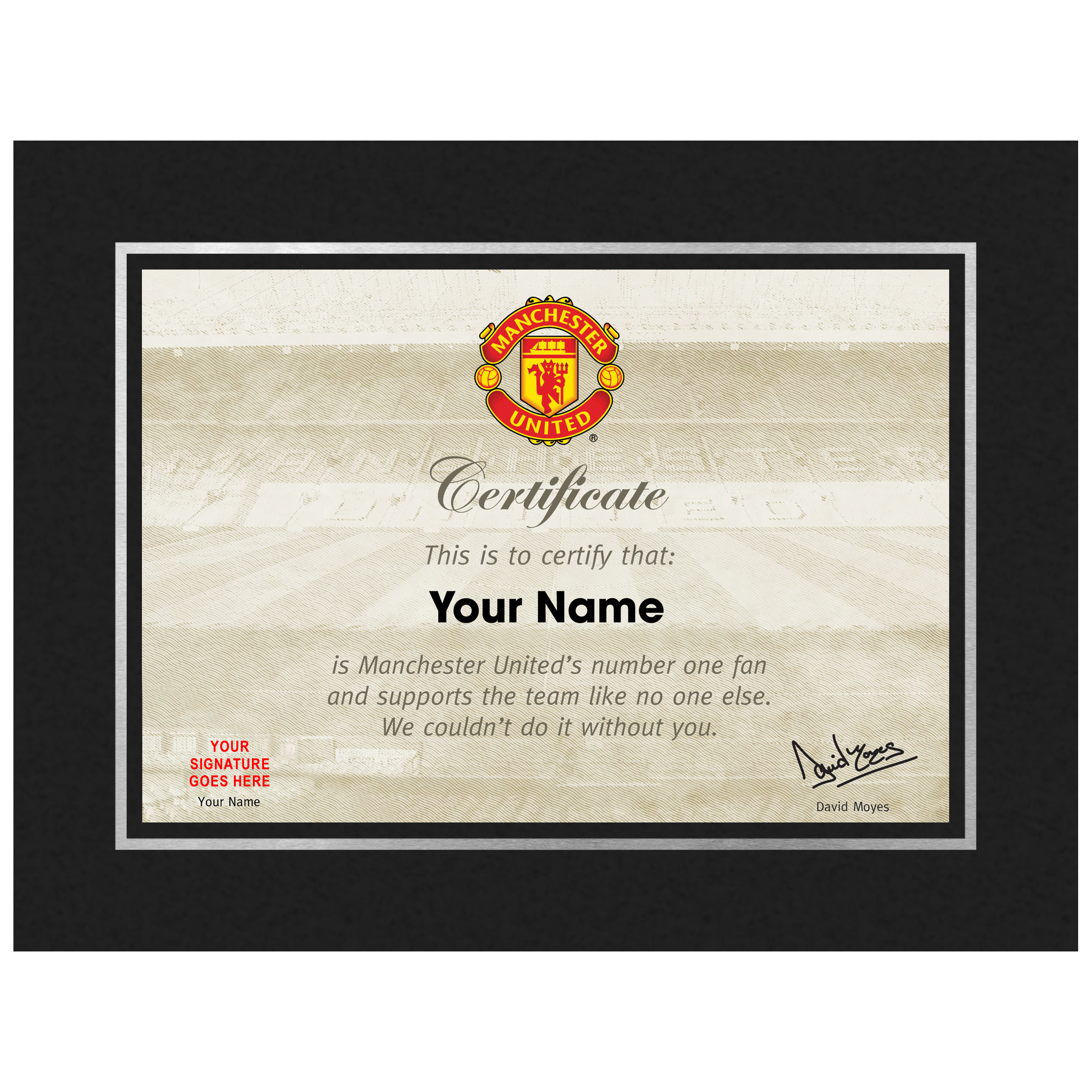 Manchester United Personalised No 1 Fan Certificate in Freestanding Strut Mount