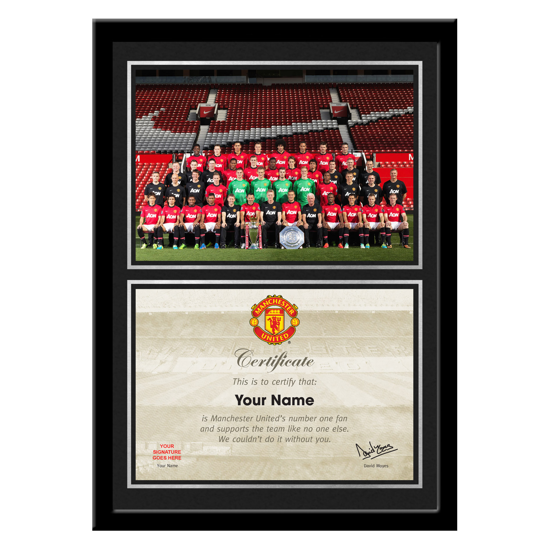 Manchester United Personalised No 1 Fan Certificate with Team Photo - Framed