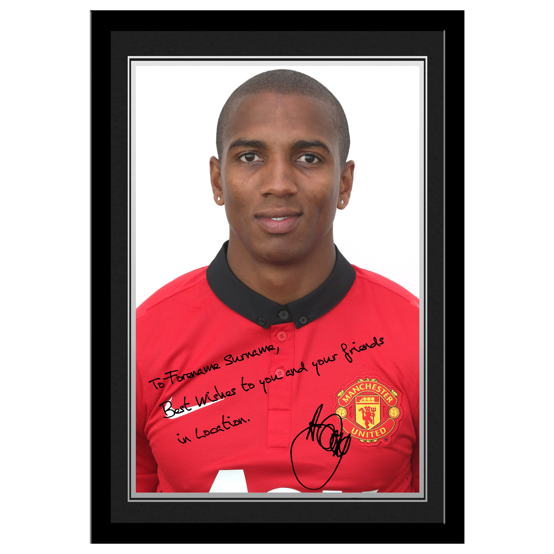 Manchester United Personalised Signature Photo Framed - A Young