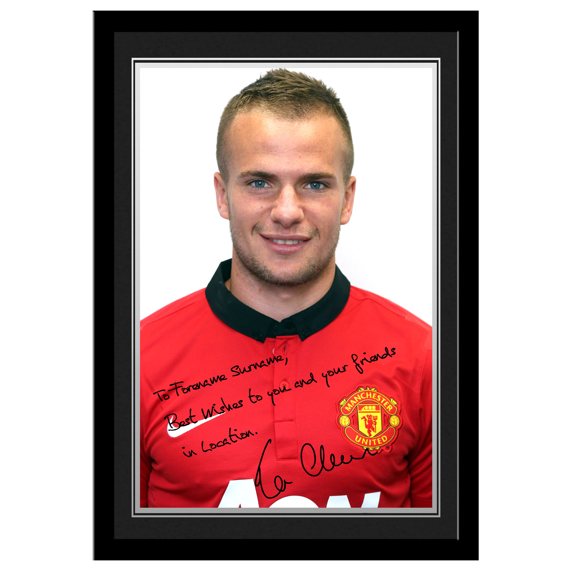 Manchester United Personalised Signature Photo Framed - Cleverley