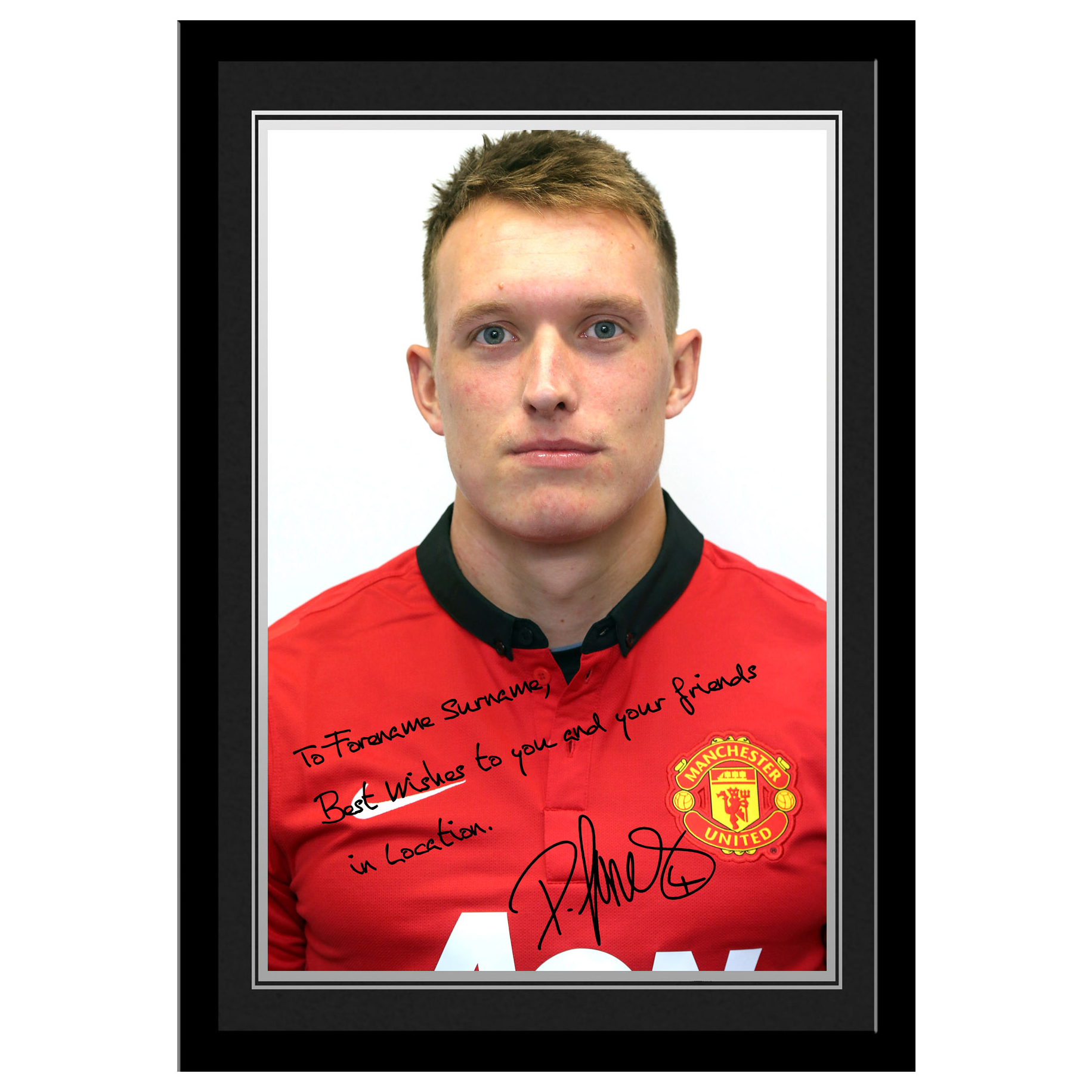 Manchester United Personalised Signature Photo Framed - Jones