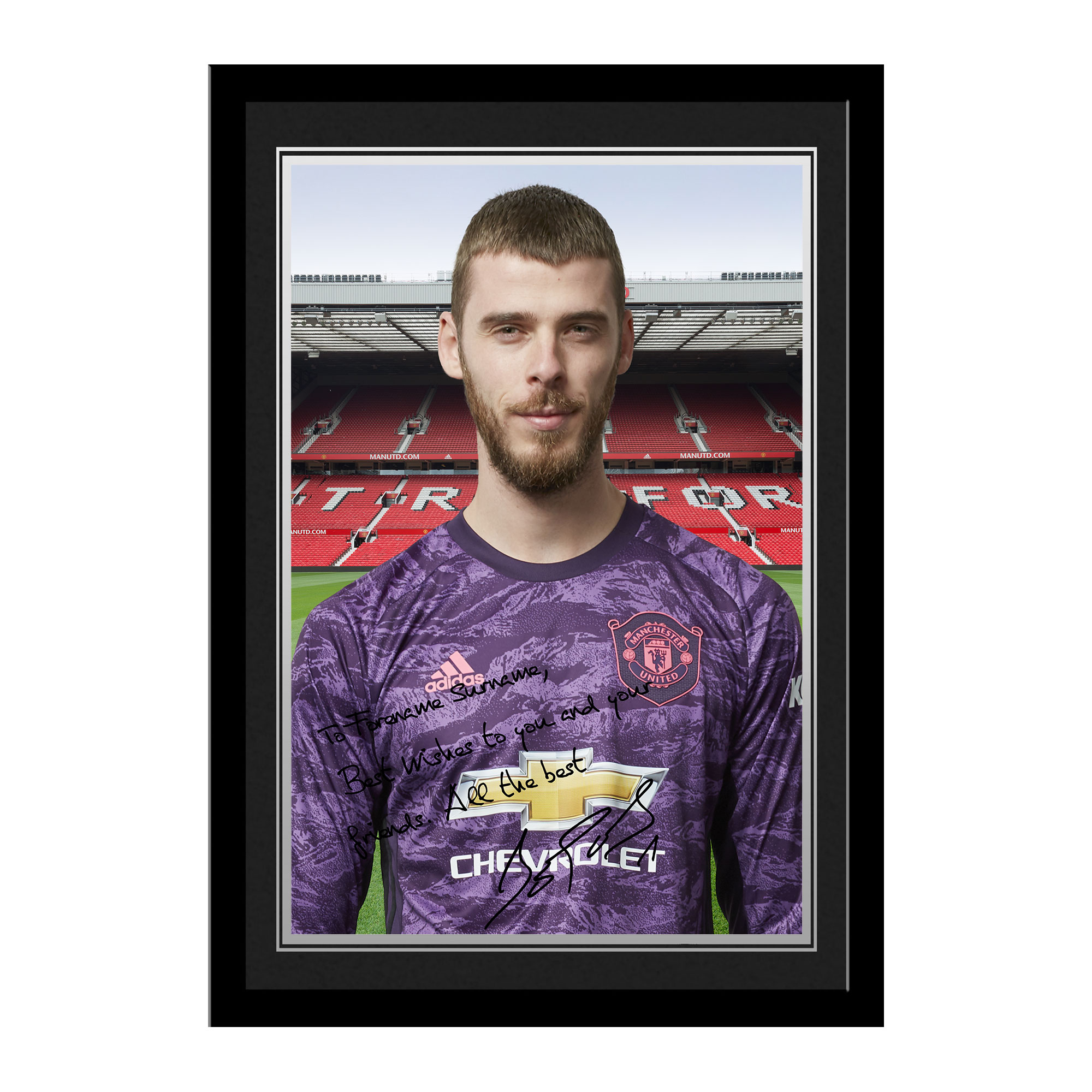 Manchester United Personalised Signature Photo Framed - David De Gea