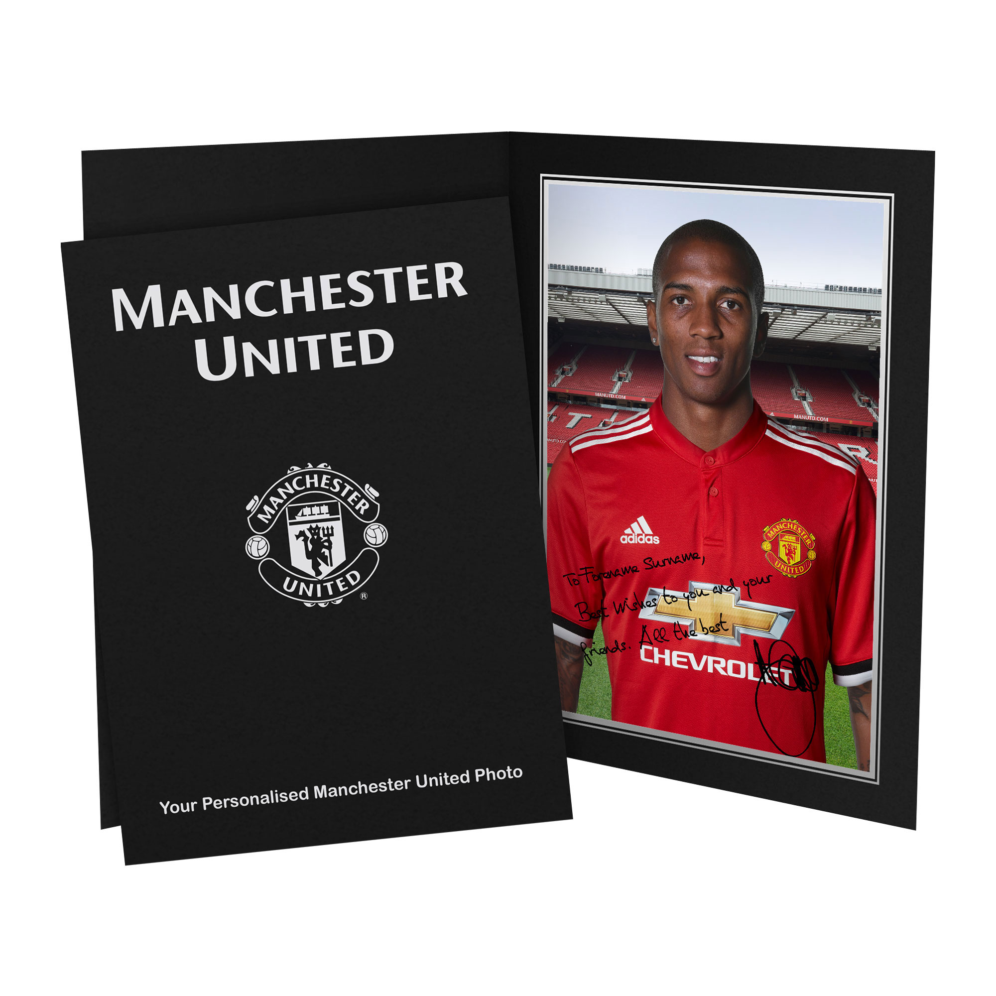 Manchester United Personalised Signature Photo In Presentation Folder - A Young