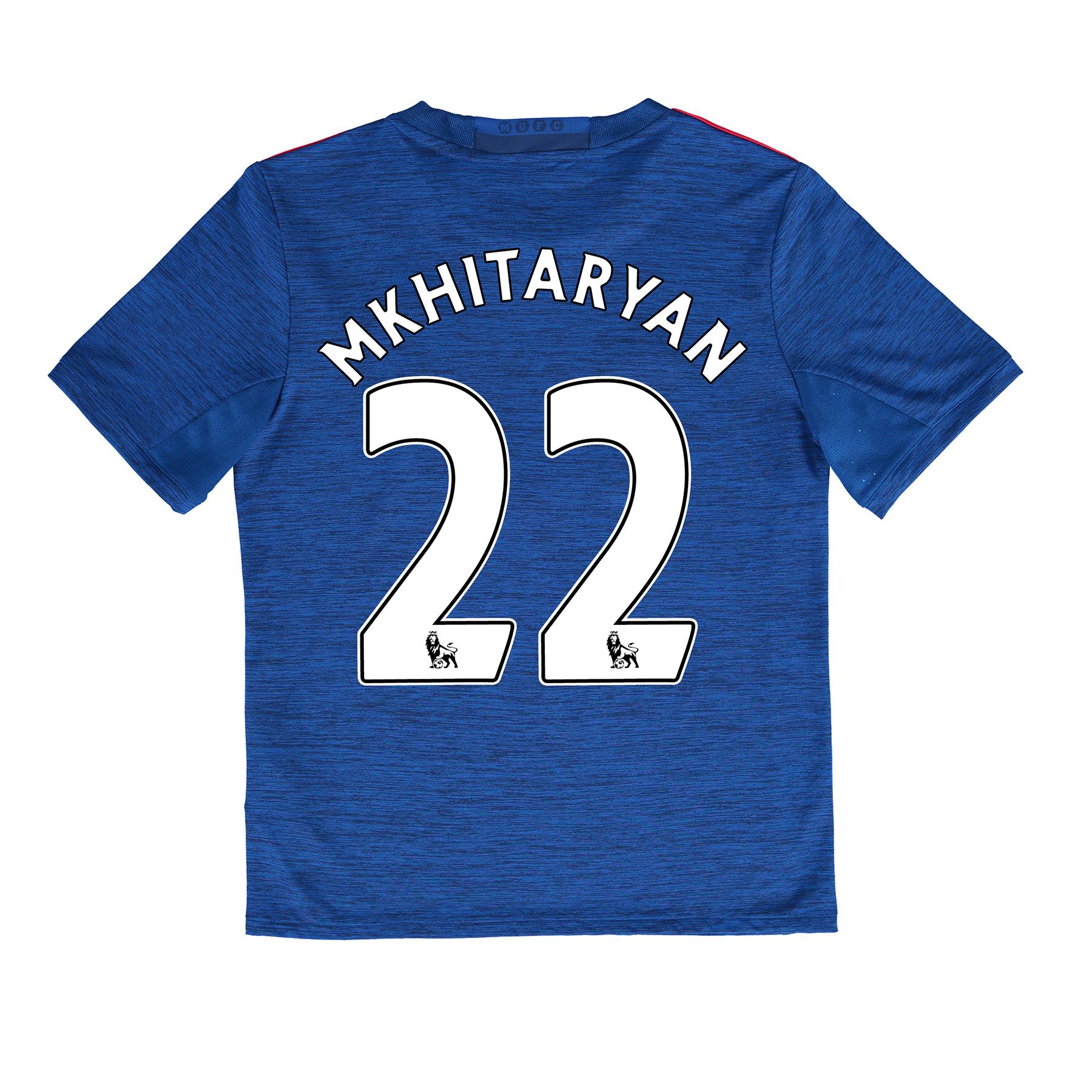 Manchester United Away Shirt 2016-17 - Kids with Mkhitaryan 22 printin, Blue